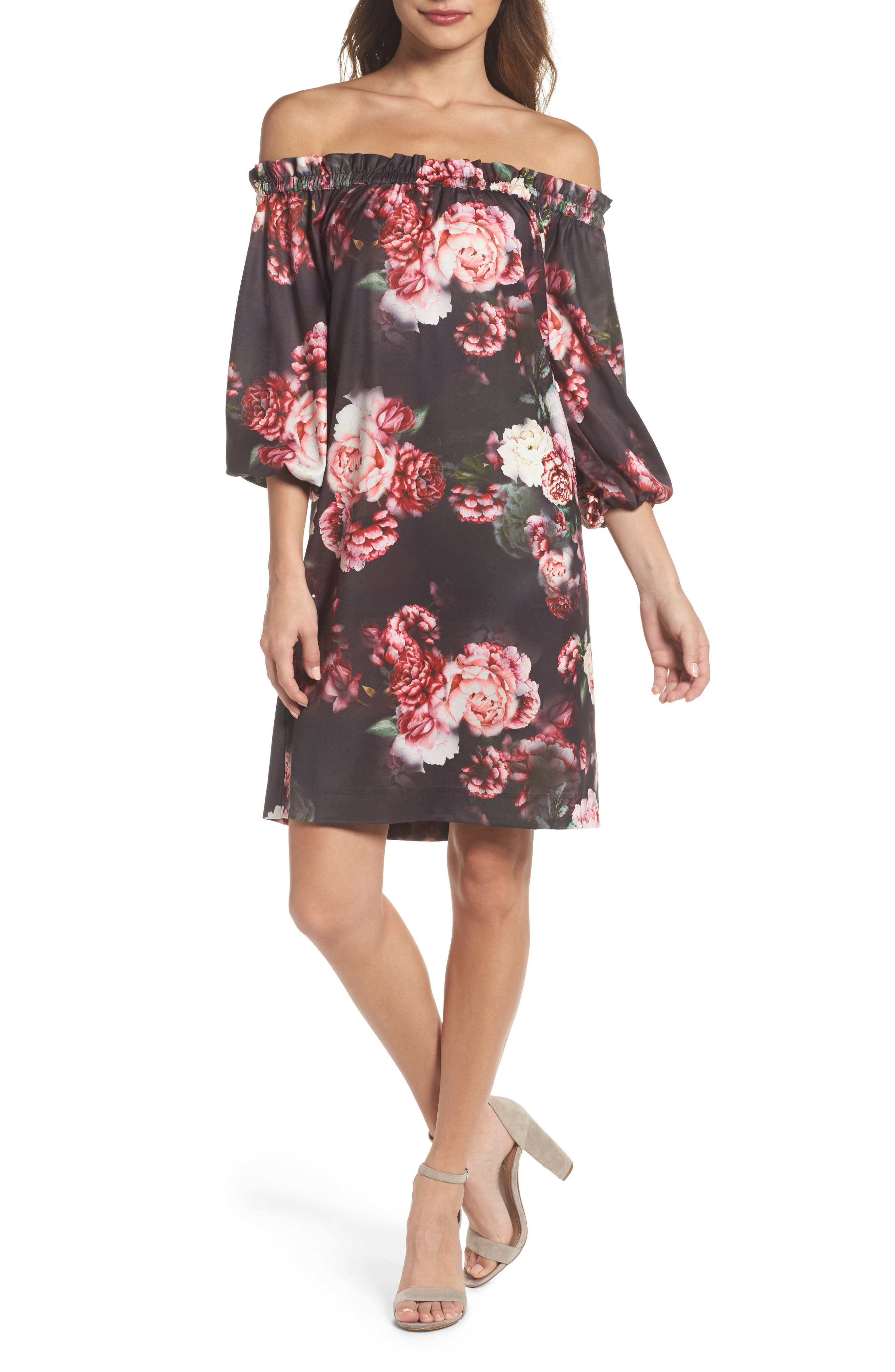 FELICITY & COCO Print Off the Shoulder Shift Dress