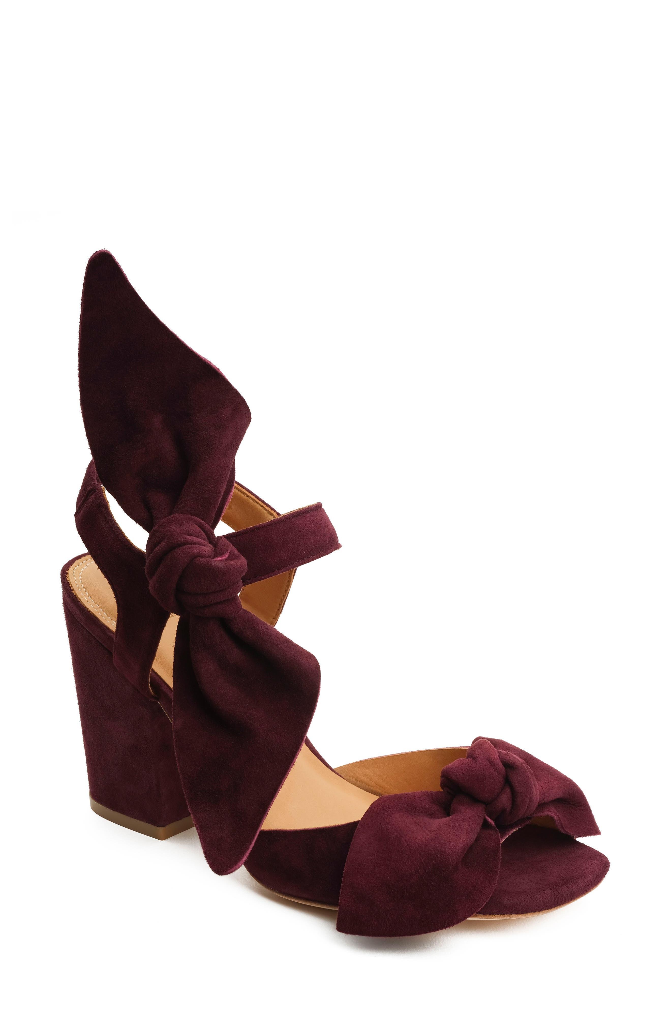 Carmen Bow Sandal,                         Main,                         color, Wine