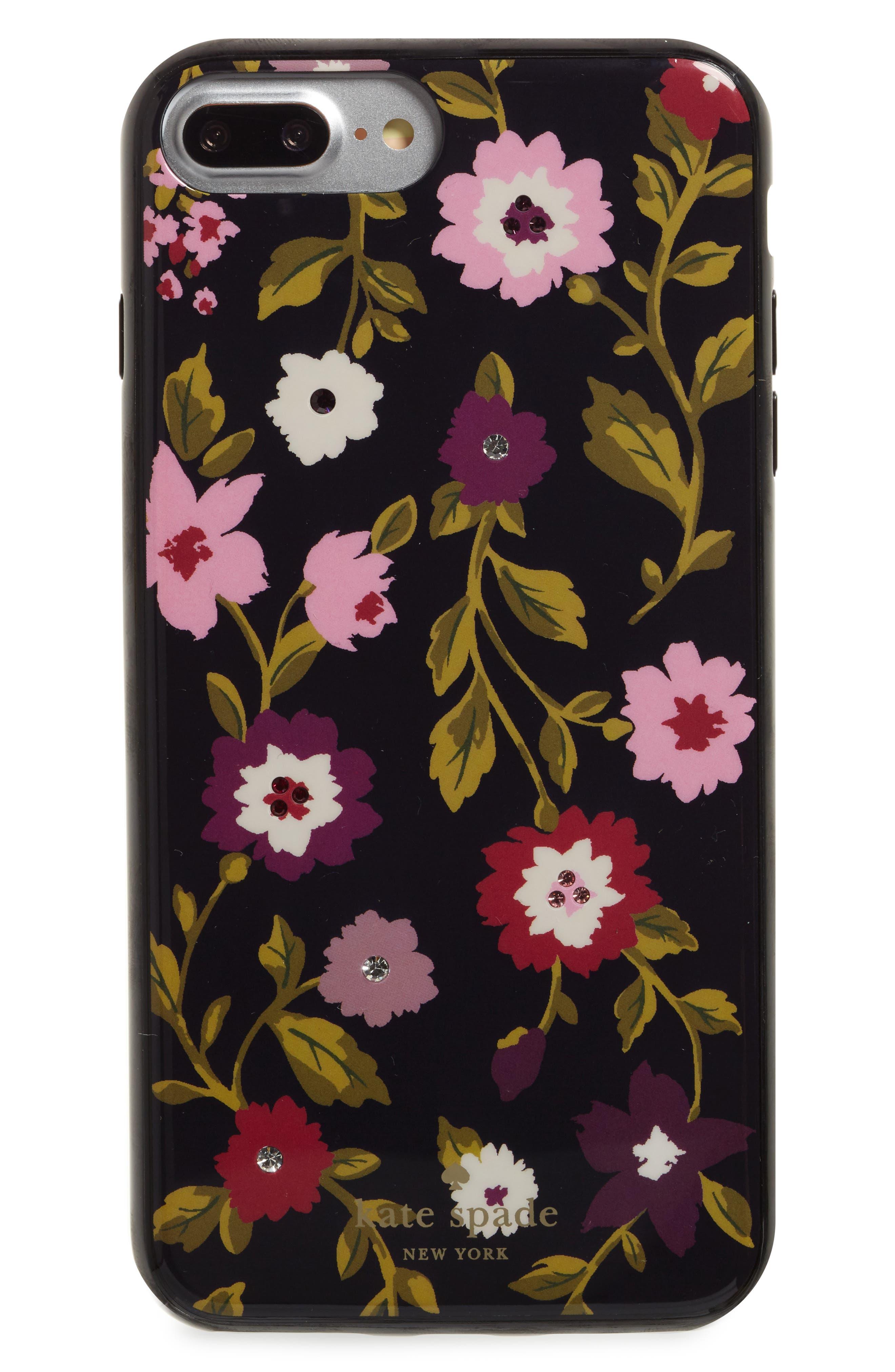 jeweled - in bloom iPhone 7/8 & 7/8 Plus case,                         Main,                         color, Black Multi