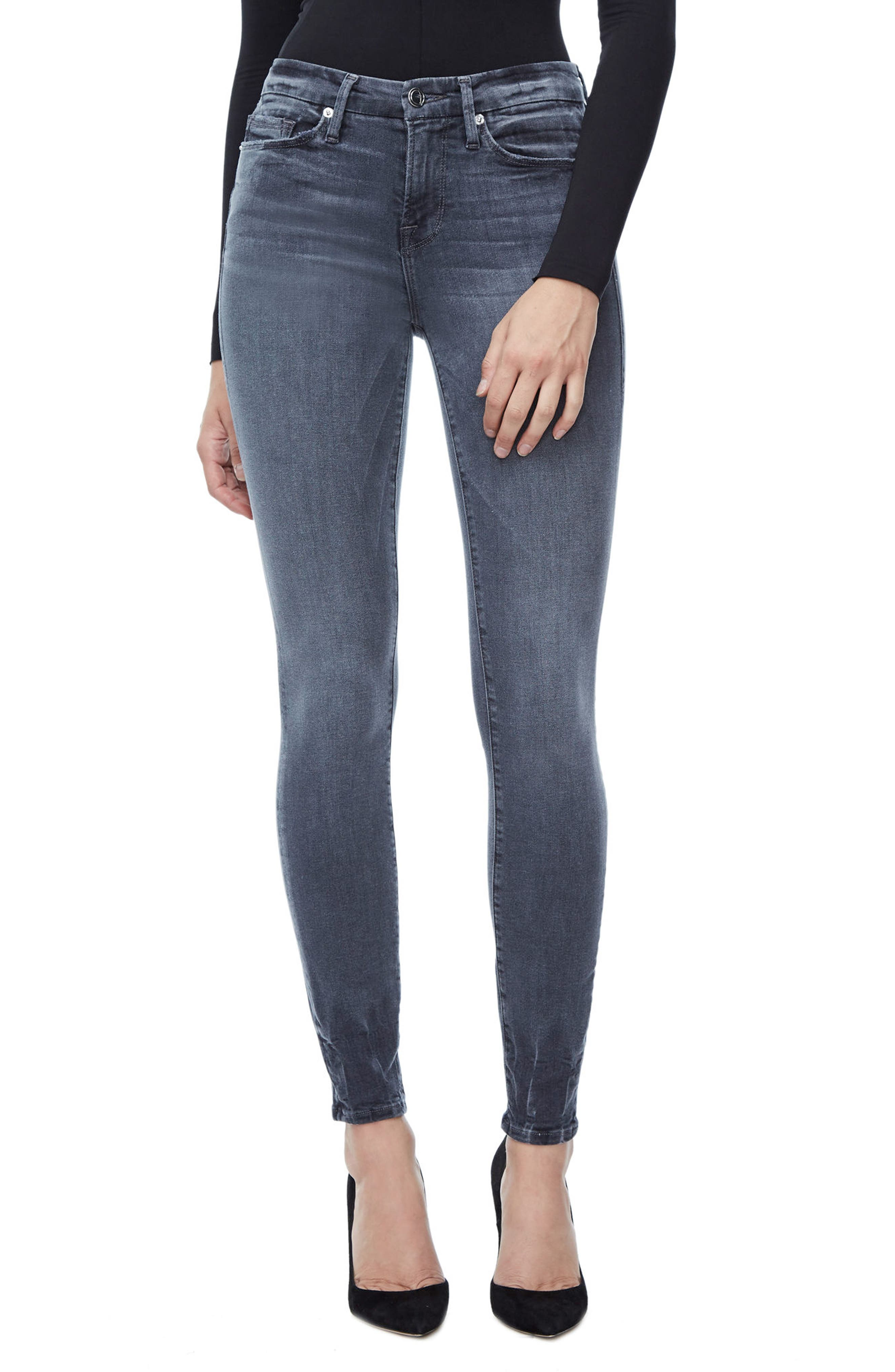 Main Image - Good American Good Legs High Waist Skinny Jeans (Grey 002) (Extended Sizes)