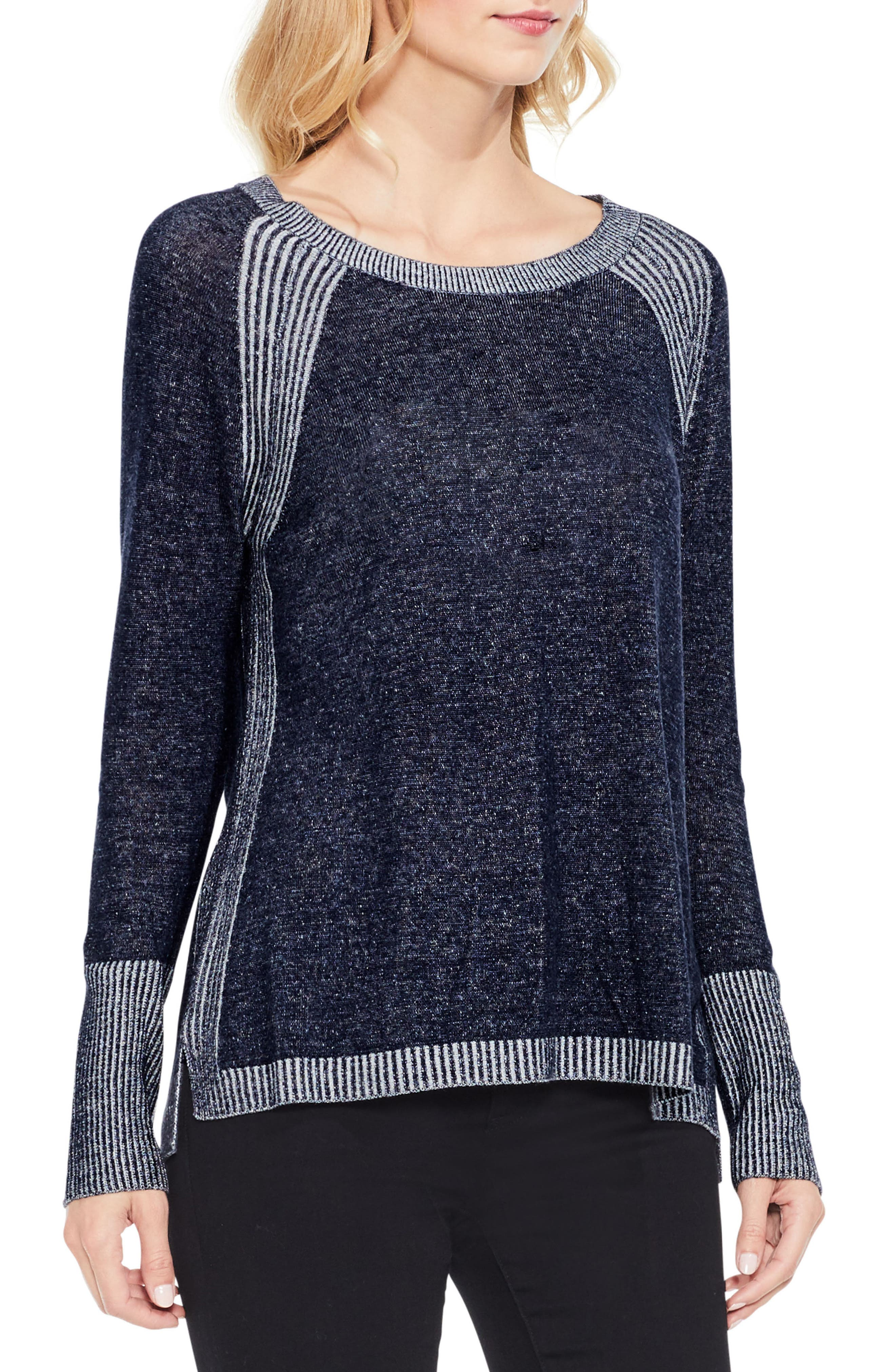 Two by Vince Camuto Contrast Ribbed Raglan Sweater