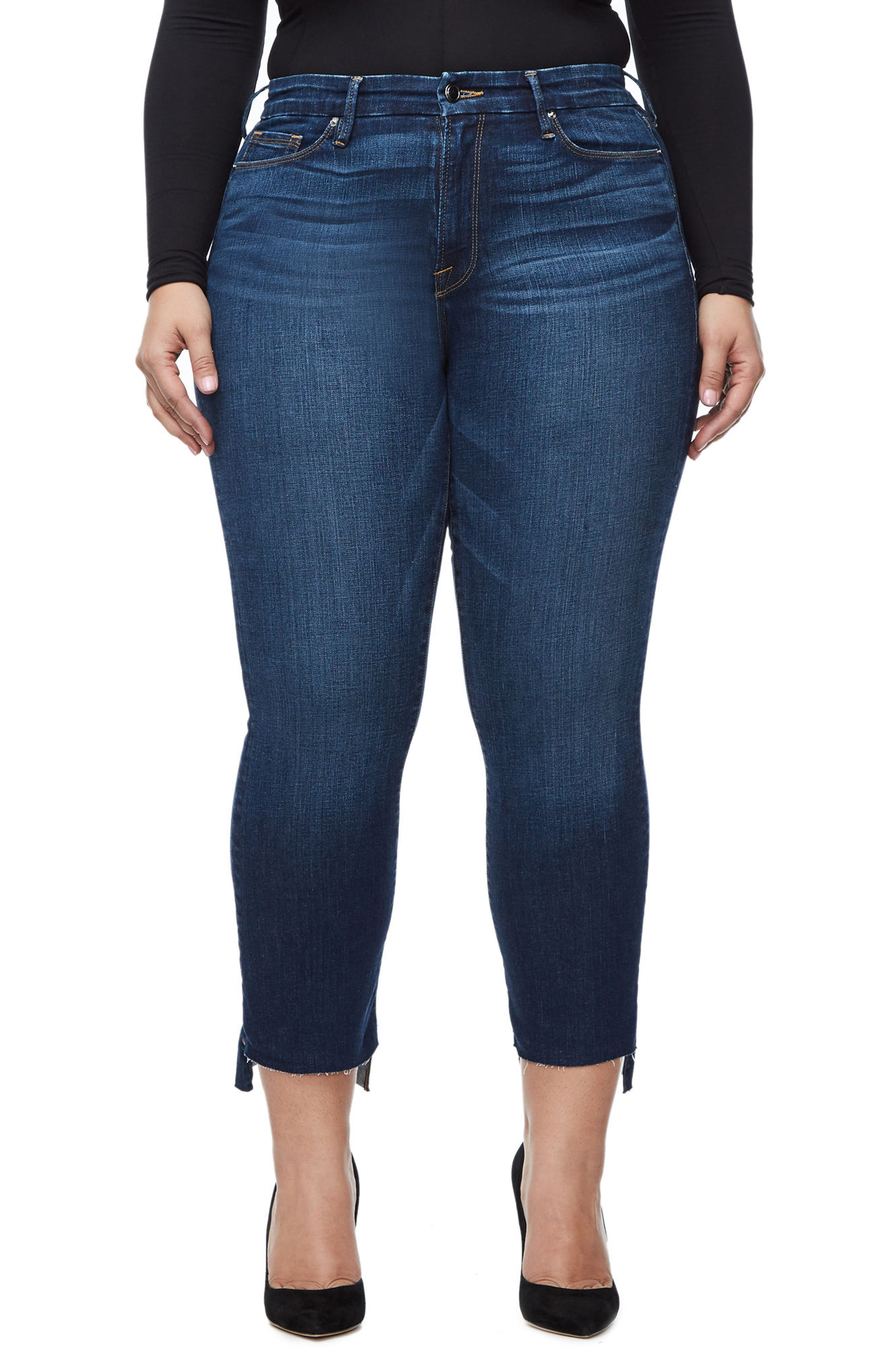 Alternate Image 4  - Good American Good Boot Crop Step Hem Bootcut Jeans (Blue 091) (Extended Sizes)
