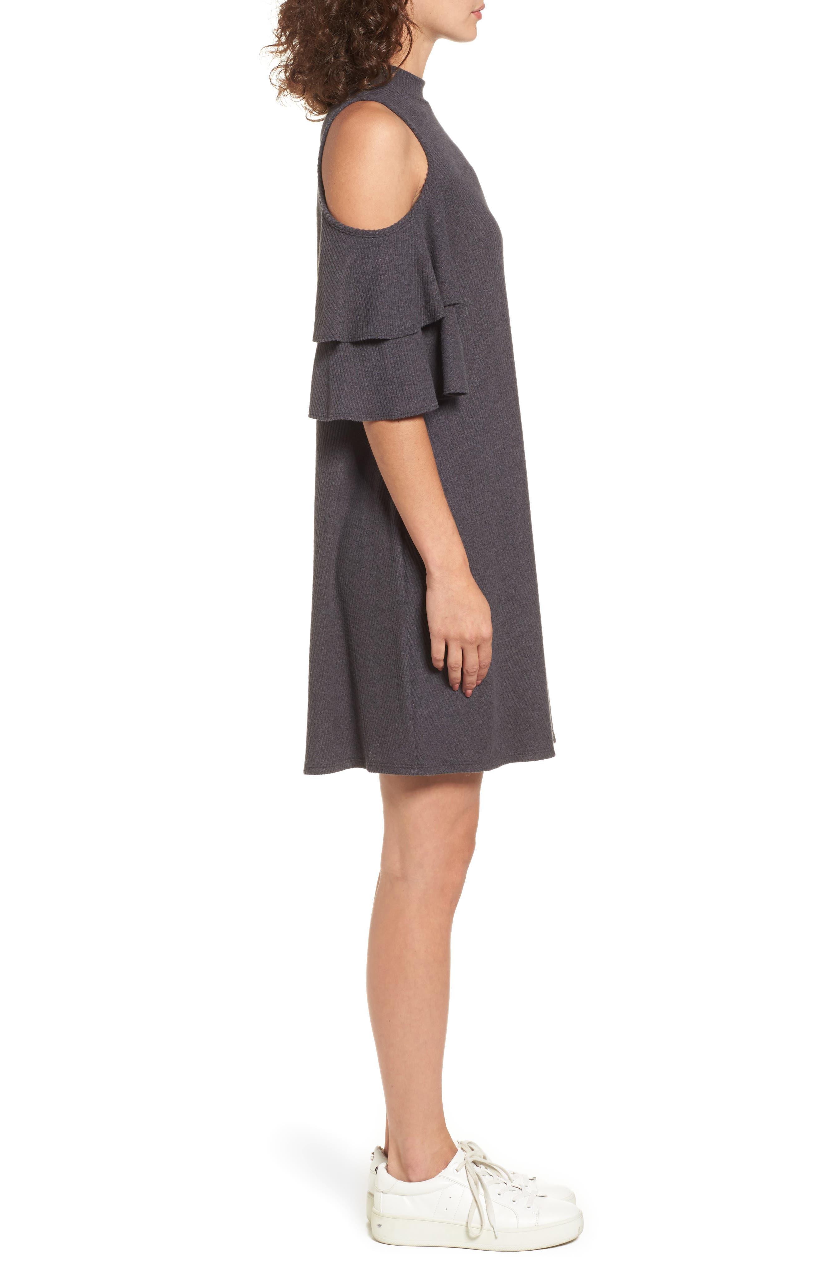 Ruffle Cold Shoulder Shift Dress,                             Alternate thumbnail 3, color,                             Charcoal