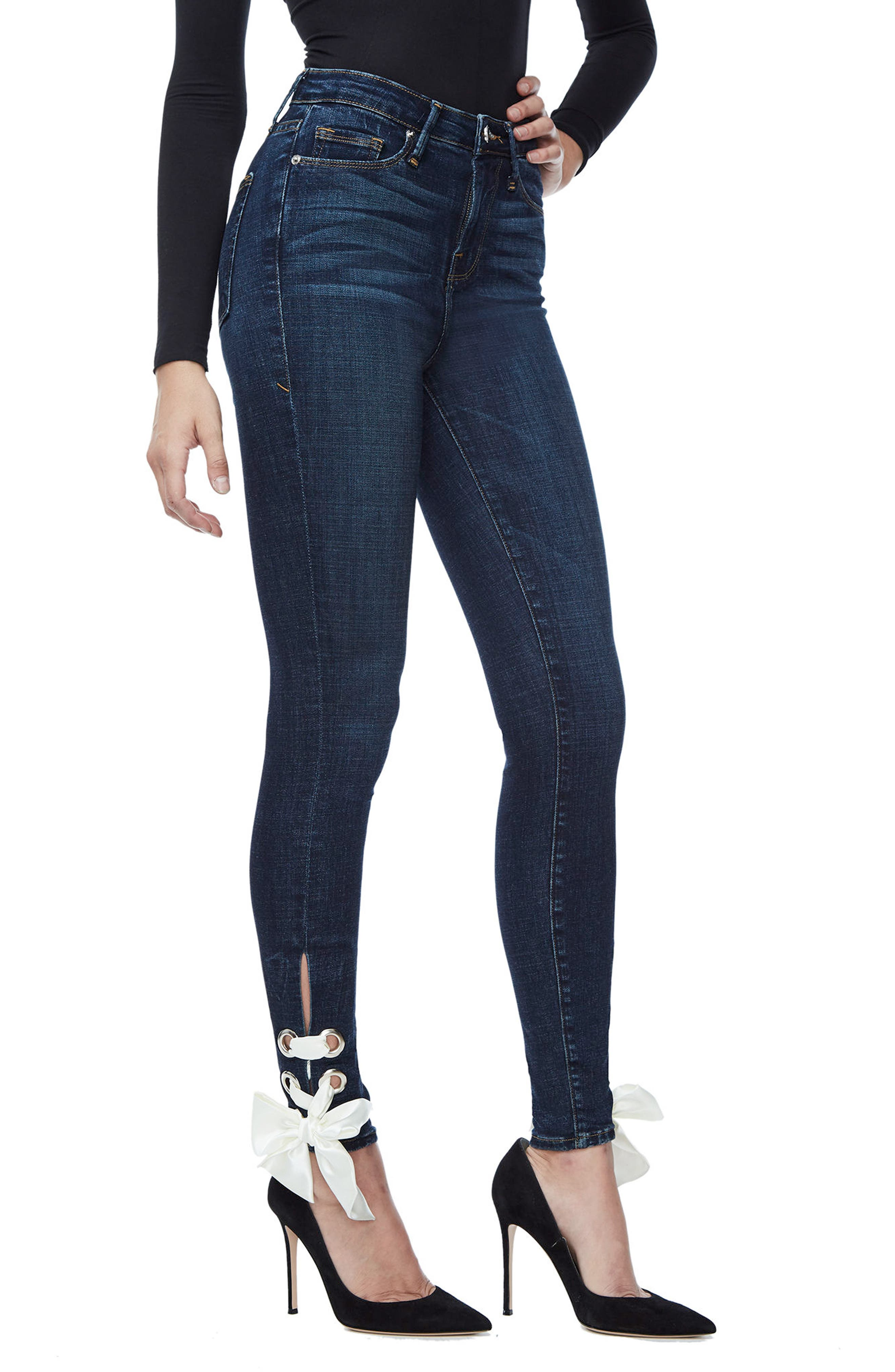 Alternate Image 3  - Good American Good Waist Ultra High Waist Ankle Skinny Jeans (Blue 102) (Regular & Plus Size)
