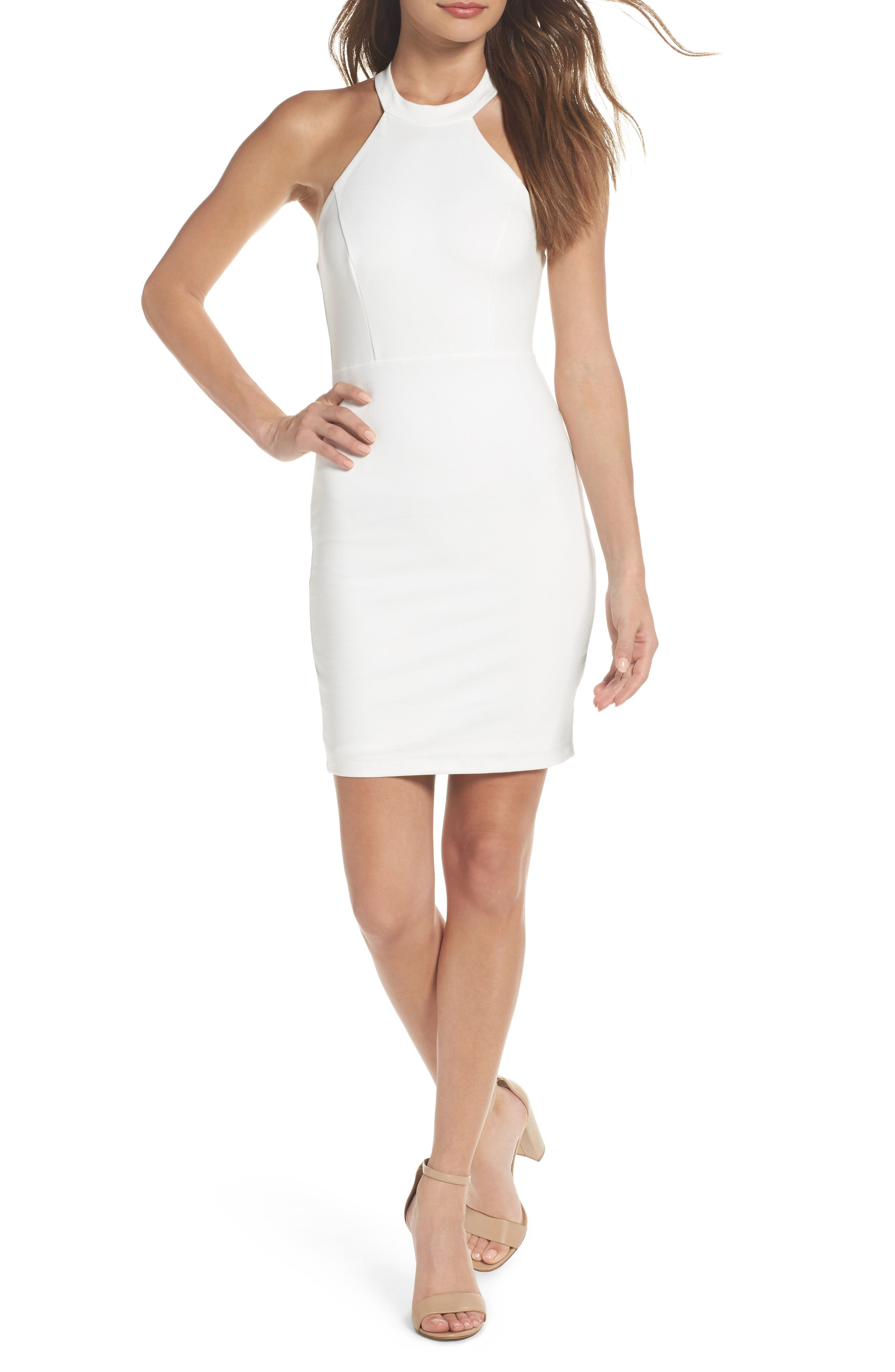 Endlessly Alluring Lace Trim Body Con Dress,                             Main thumbnail 1, color,                             White