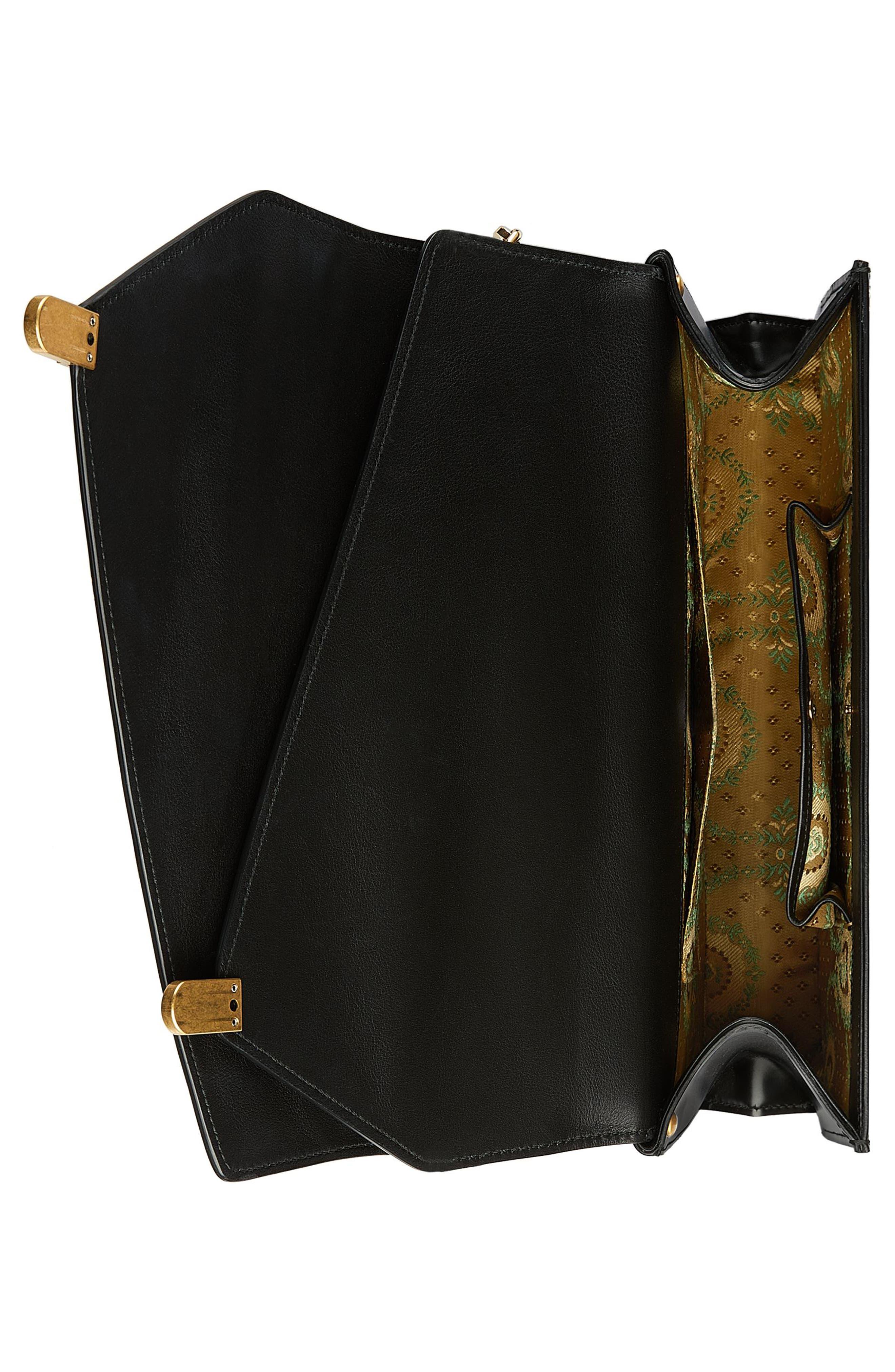 Linea P Border Leather Double Flap Top Handle Satchel,                             Alternate thumbnail 4, color,                             Nero