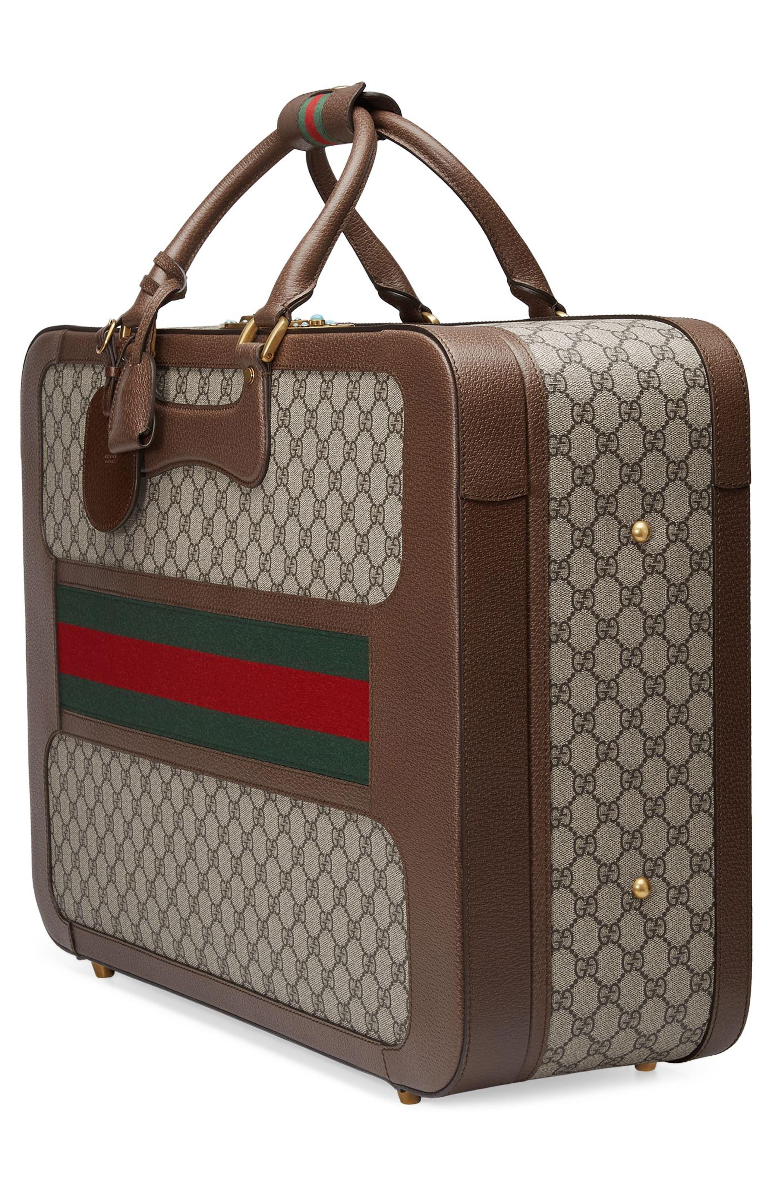 Large Echo GG Supreme Canvas & Leather Suitcase,                             Alternate thumbnail 4, color,                             Beige/ Ebony
