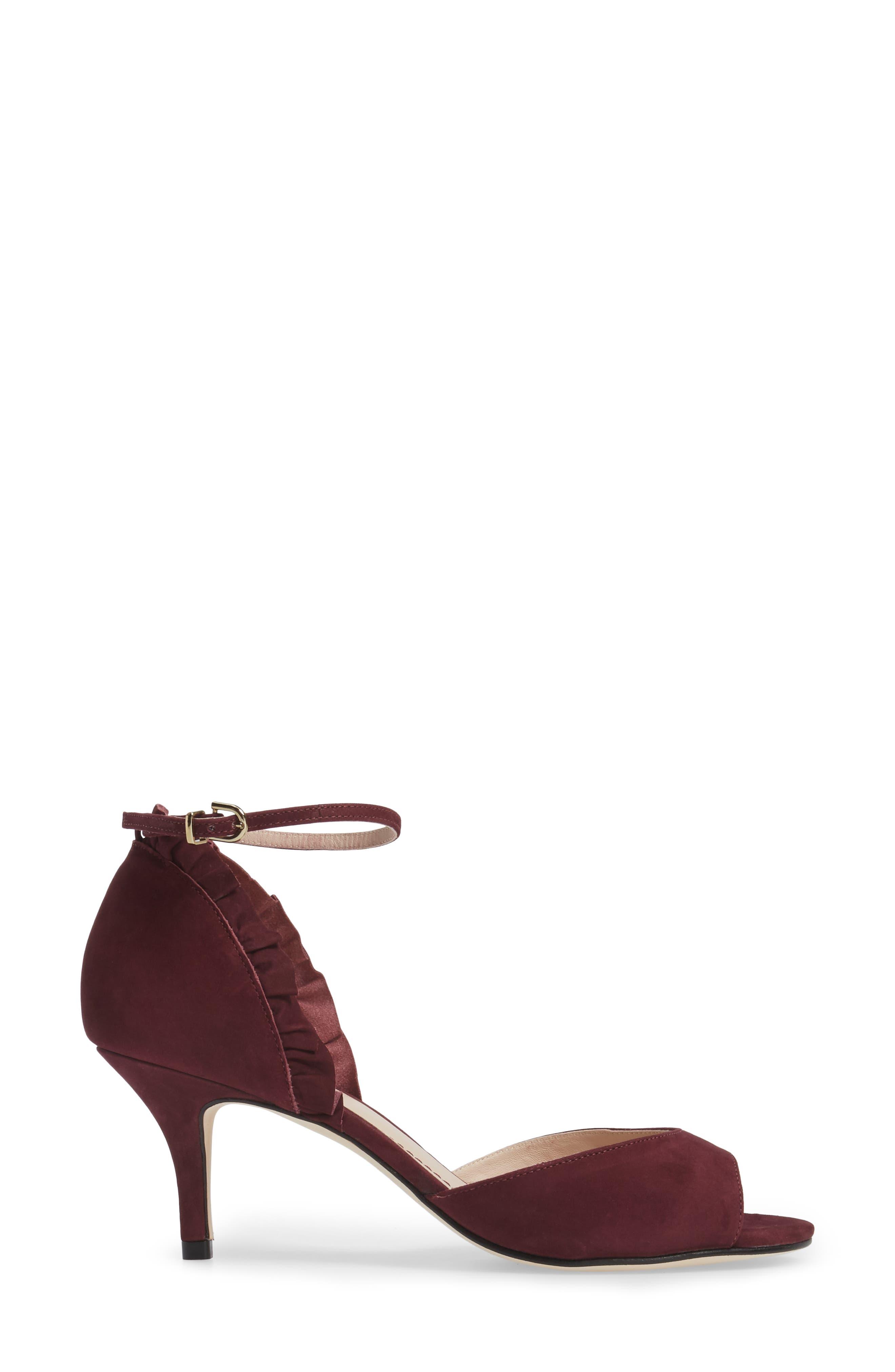 Alisa d'Orsay Sandal,                             Alternate thumbnail 3, color,                             Wine Nubuck Leather