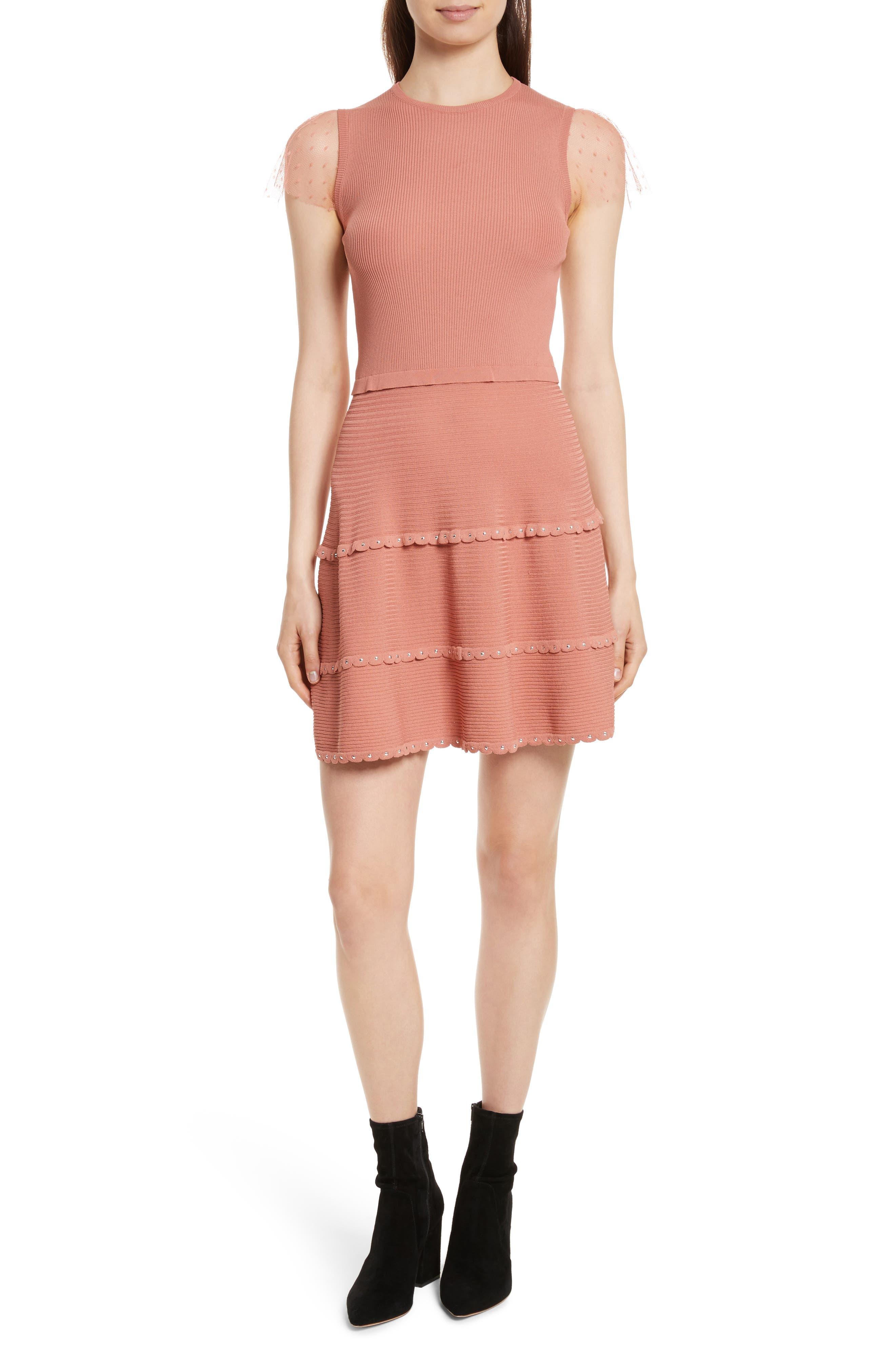 Scallop Stretch Knit Dress,                         Main,                         color, Antique Rose Light