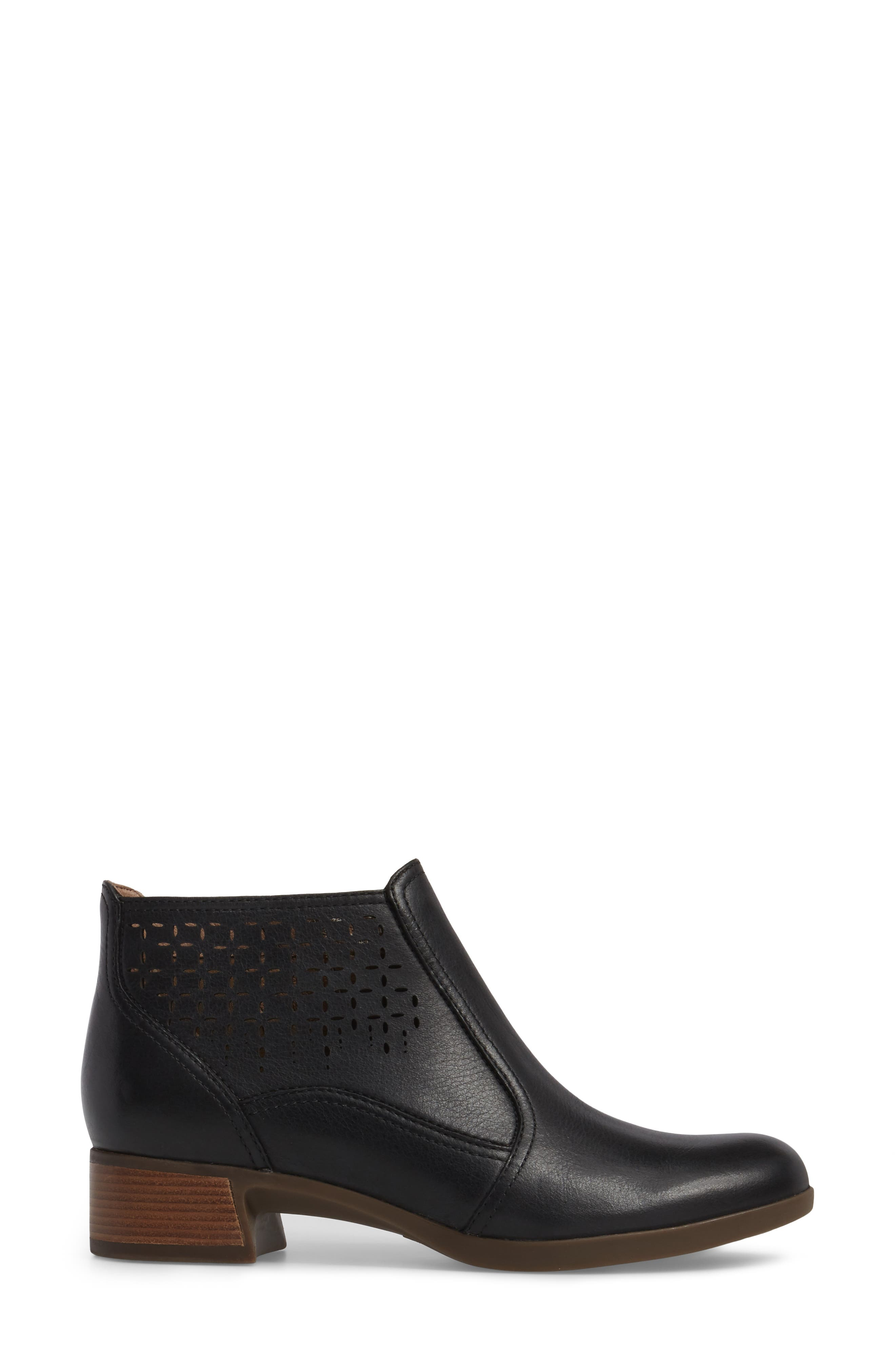 Liberty Laser Cut Bootie,                             Alternate thumbnail 3, color,                             Black Burnished Nappa Leather