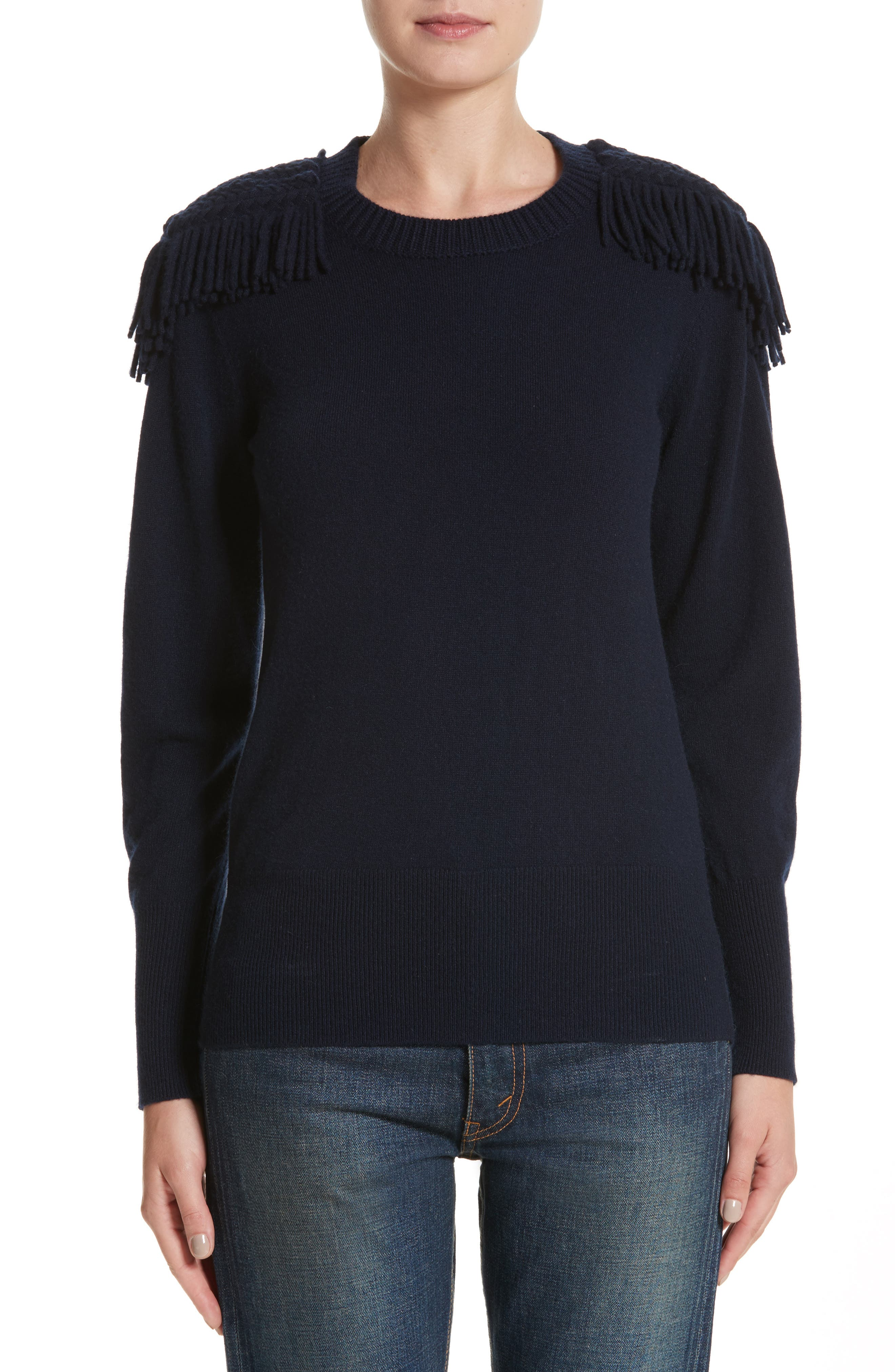 Livenza Wool & Cashmere Fringe Sweater,                         Main,                         color, Navy