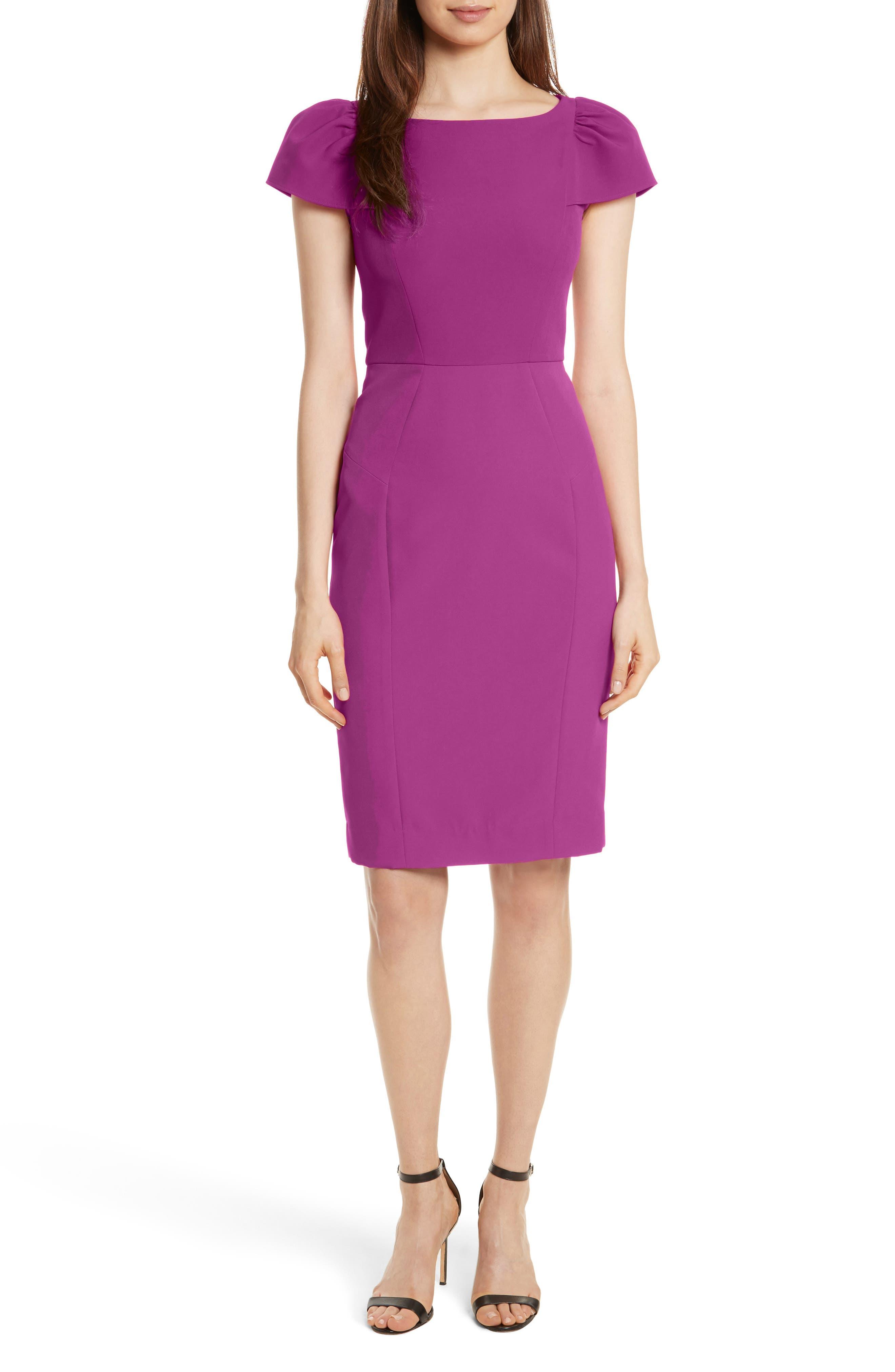 Italian Cady Gathered Sleeve Sheath Dress,                         Main,                         color, Berry
