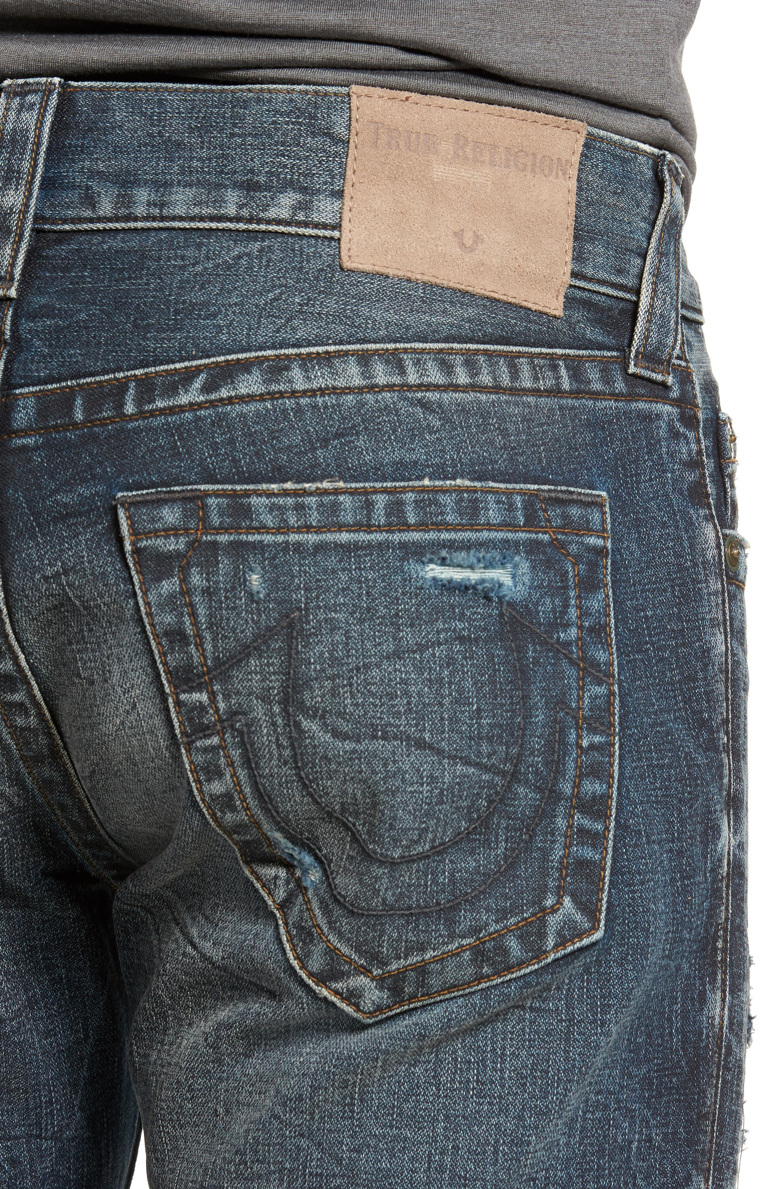 Geno Straight Fit Jeans,                             Alternate thumbnail 4, color,                             Patched Rider