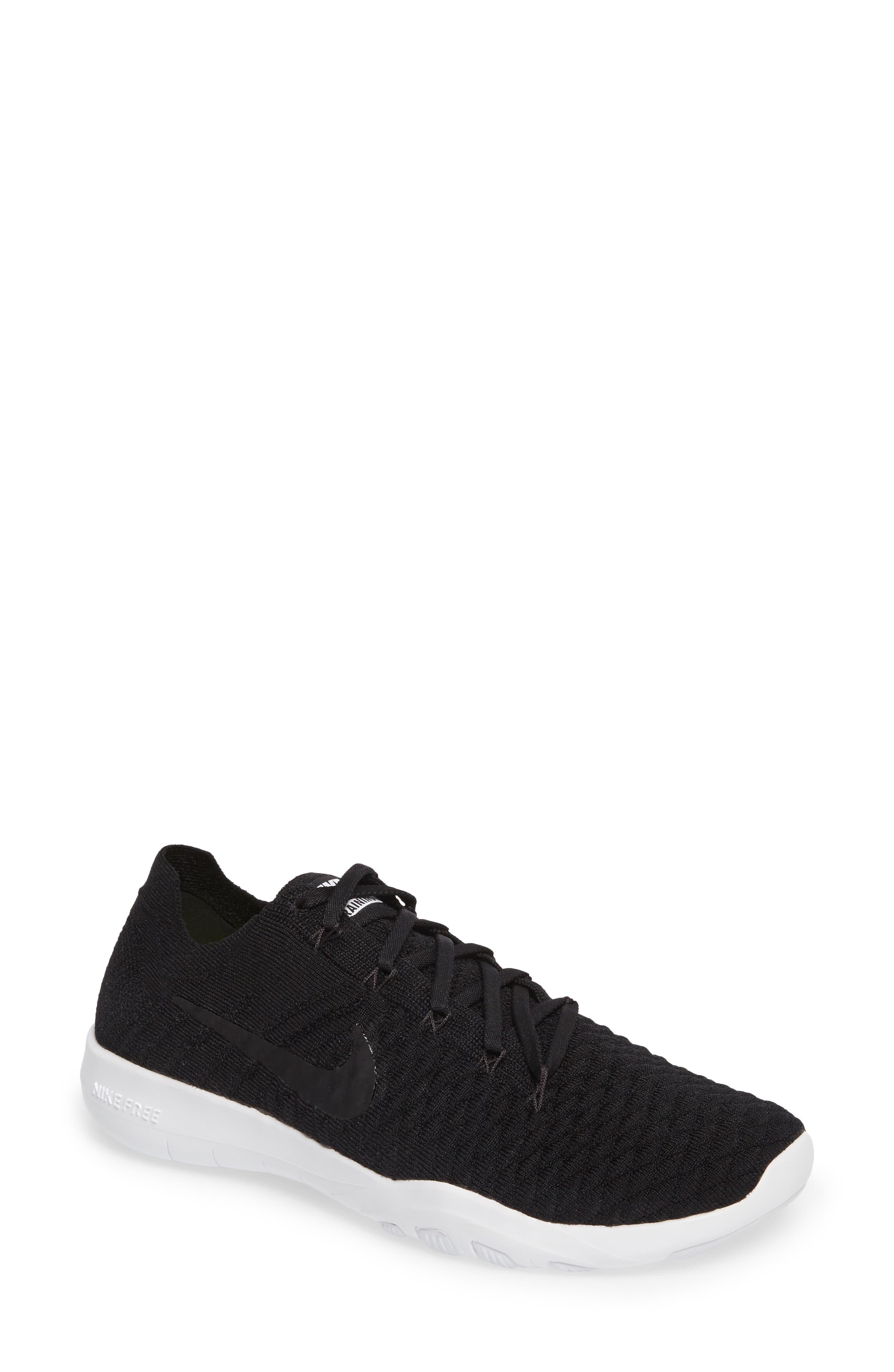 Free TR Flyknit 2 Training Shoe,                         Main,                         color, Black/ Black/ White