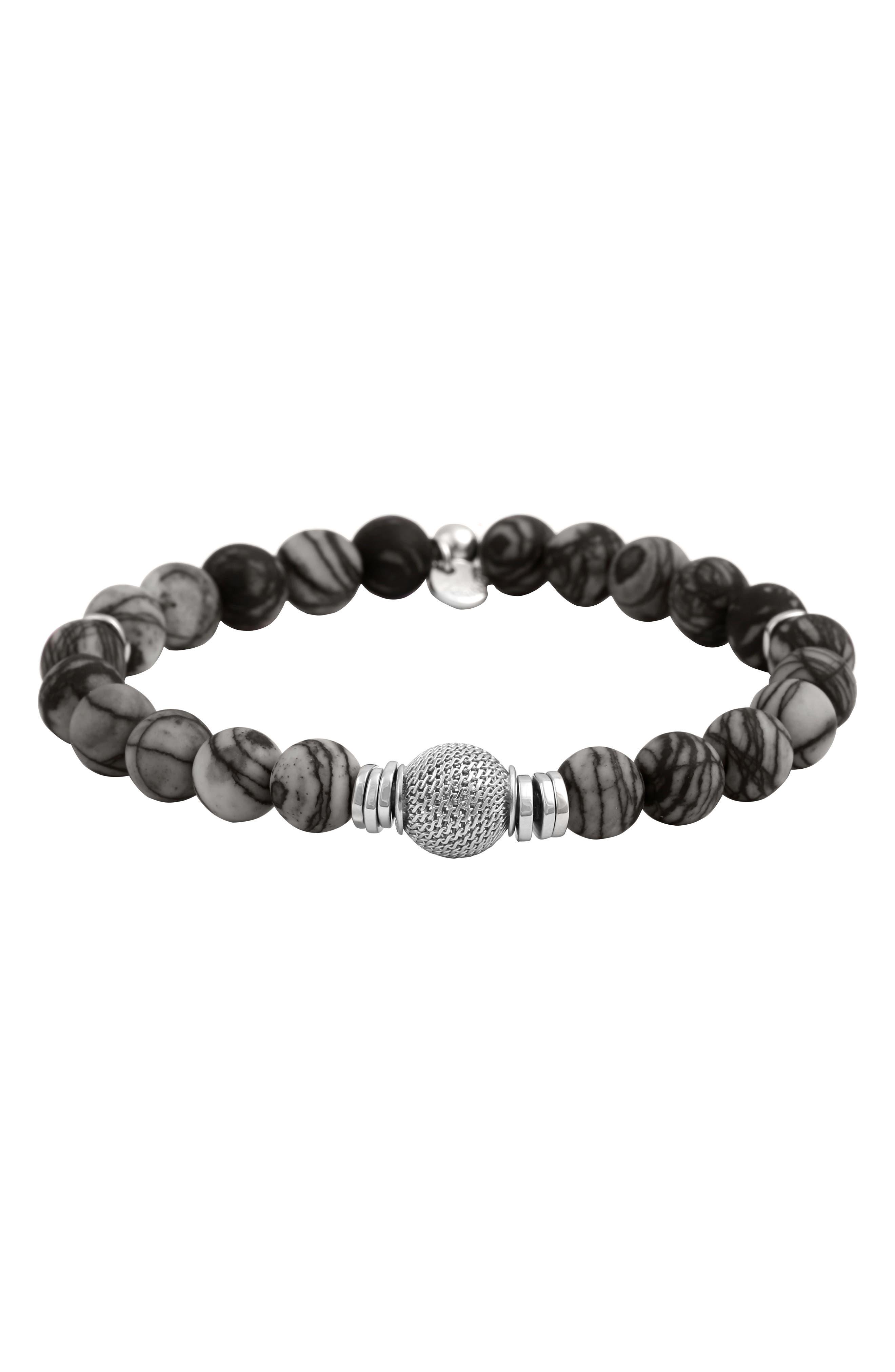 Stonehenge Bead Bracelet,                         Main,                         color, Black