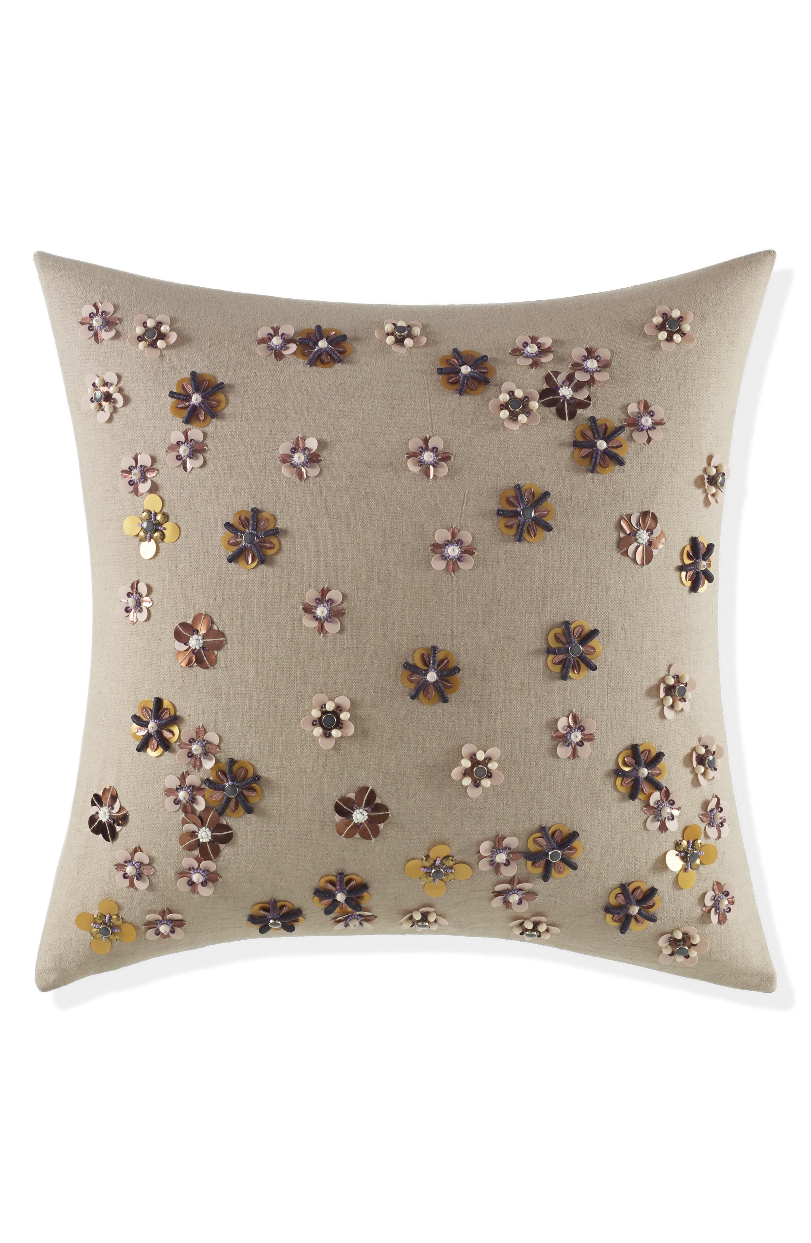 scatter blossom accent pillow,                         Main,                         color, Natural