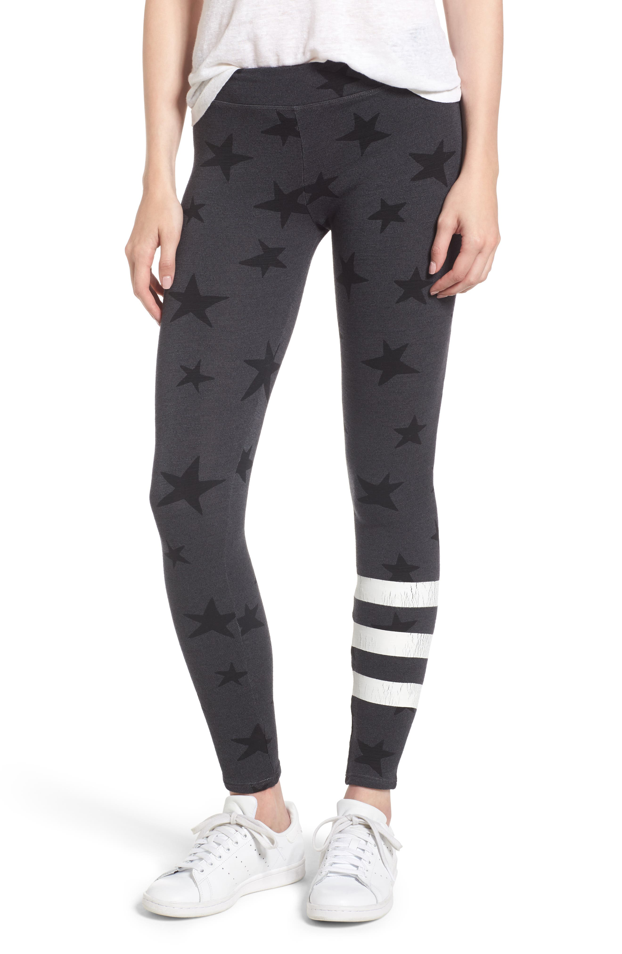 Stripe Star Leggings,                             Main thumbnail 1, color,                             Soft Black