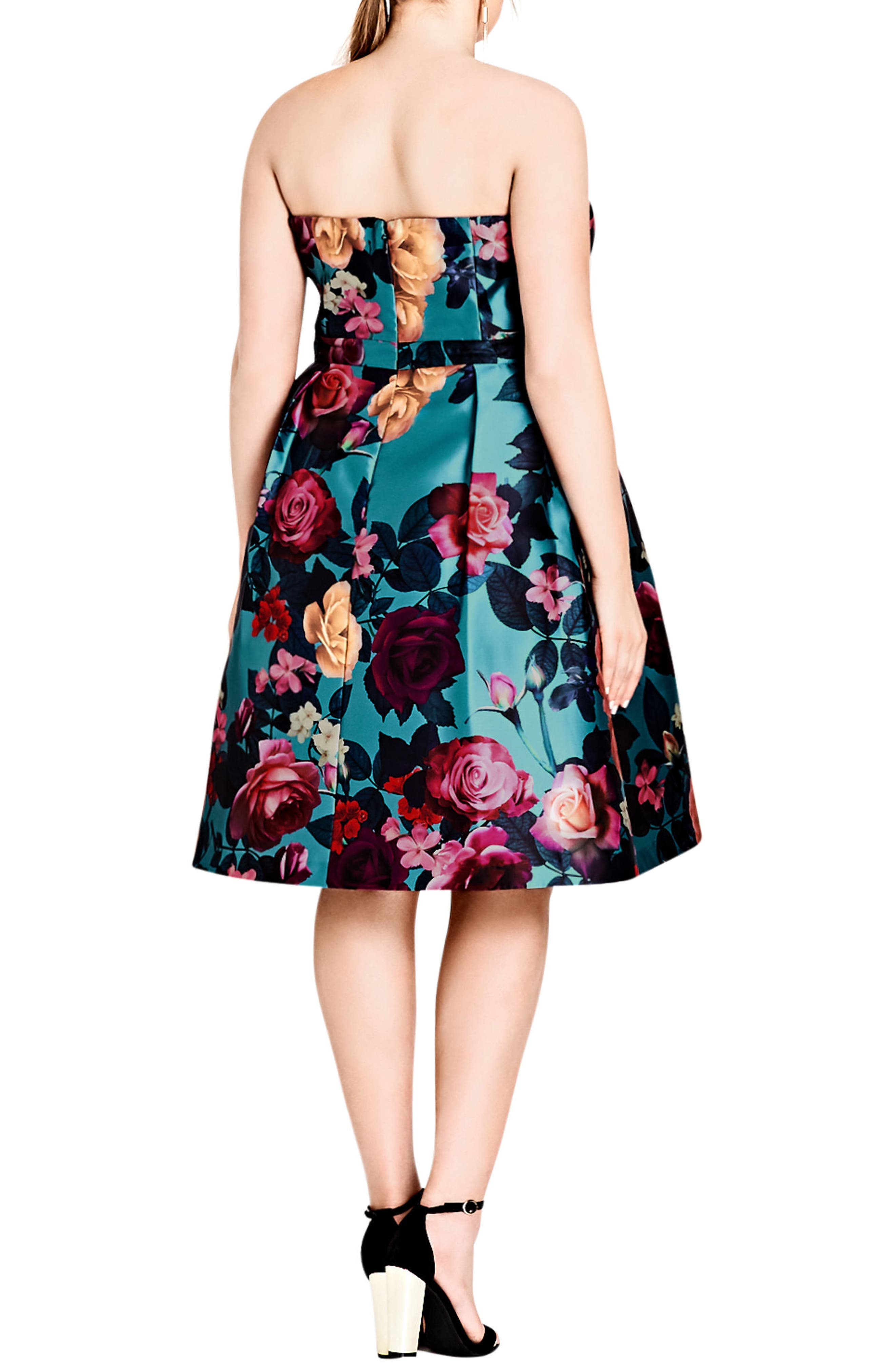 Alternate Image 2  - City Chic Floral Print Fit & Flare Dress (Plus Size)