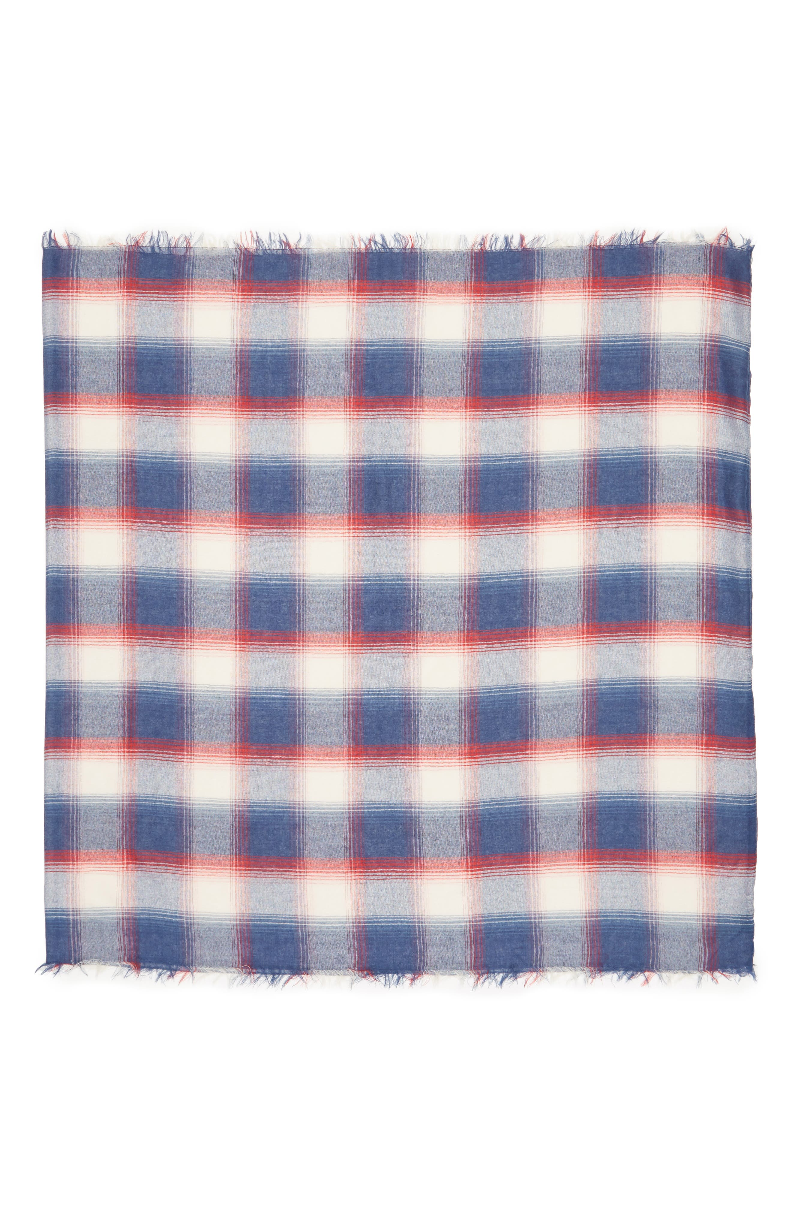 Plaid Infinity Scarf,                             Alternate thumbnail 2, color,                             Blue/ Red