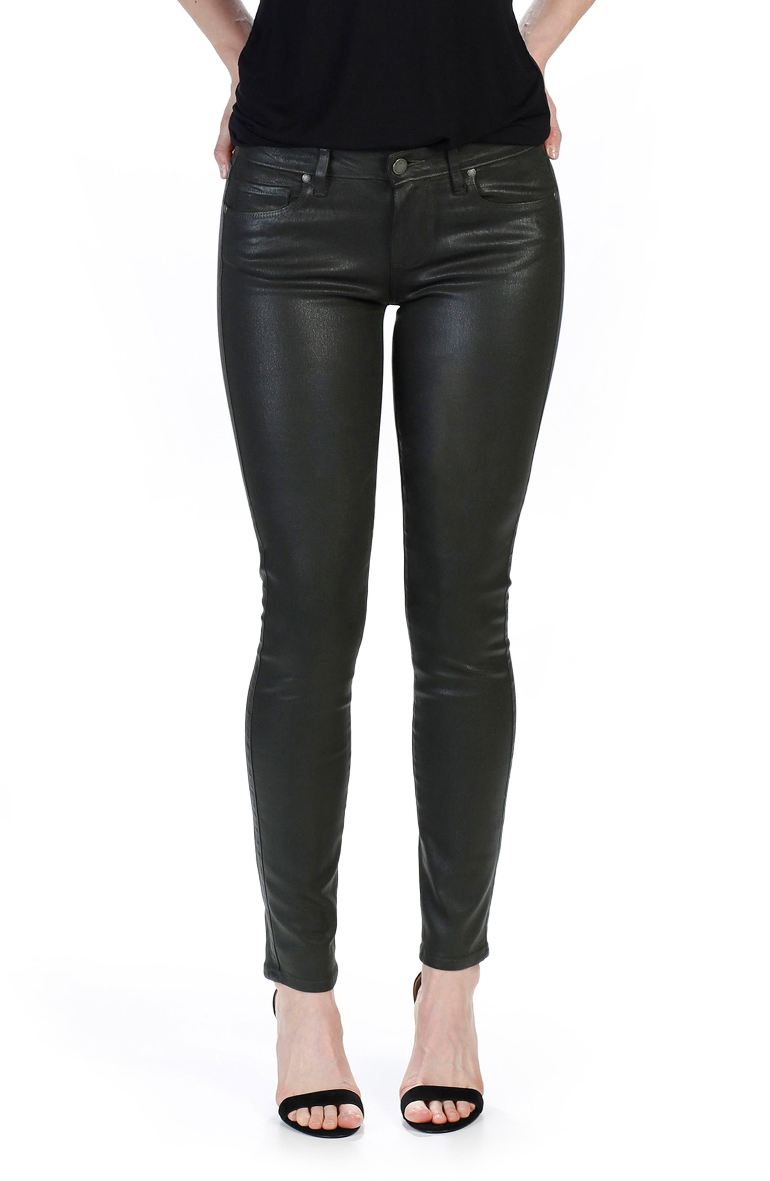 Main Image - PAIGE Transcend - Verdugo Coated Skinny Jeans (Deep Juniper Luxe)