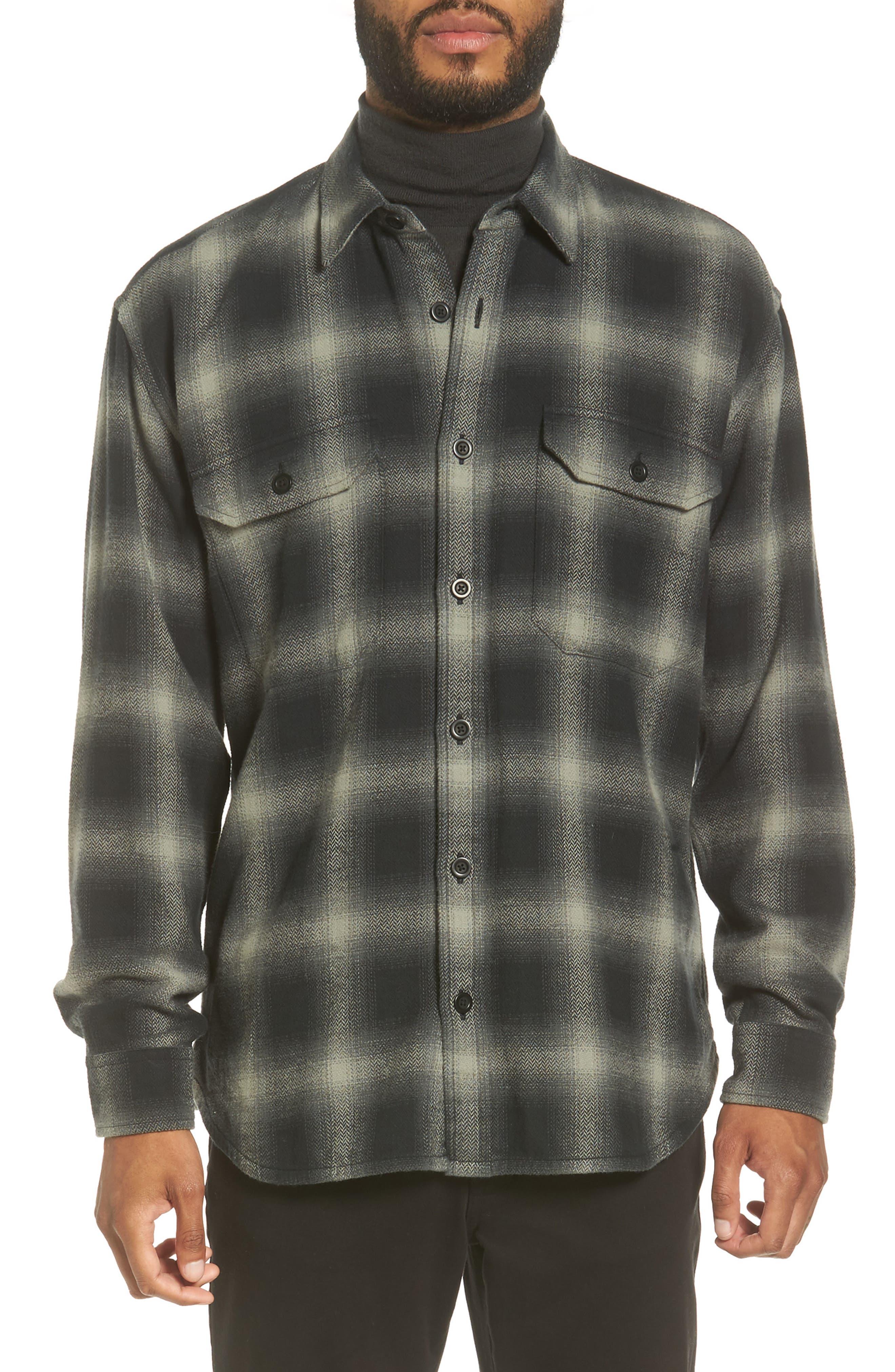 Ombré Buffalo Plaid Sport Shirt,                             Main thumbnail 1, color,                             Grey
