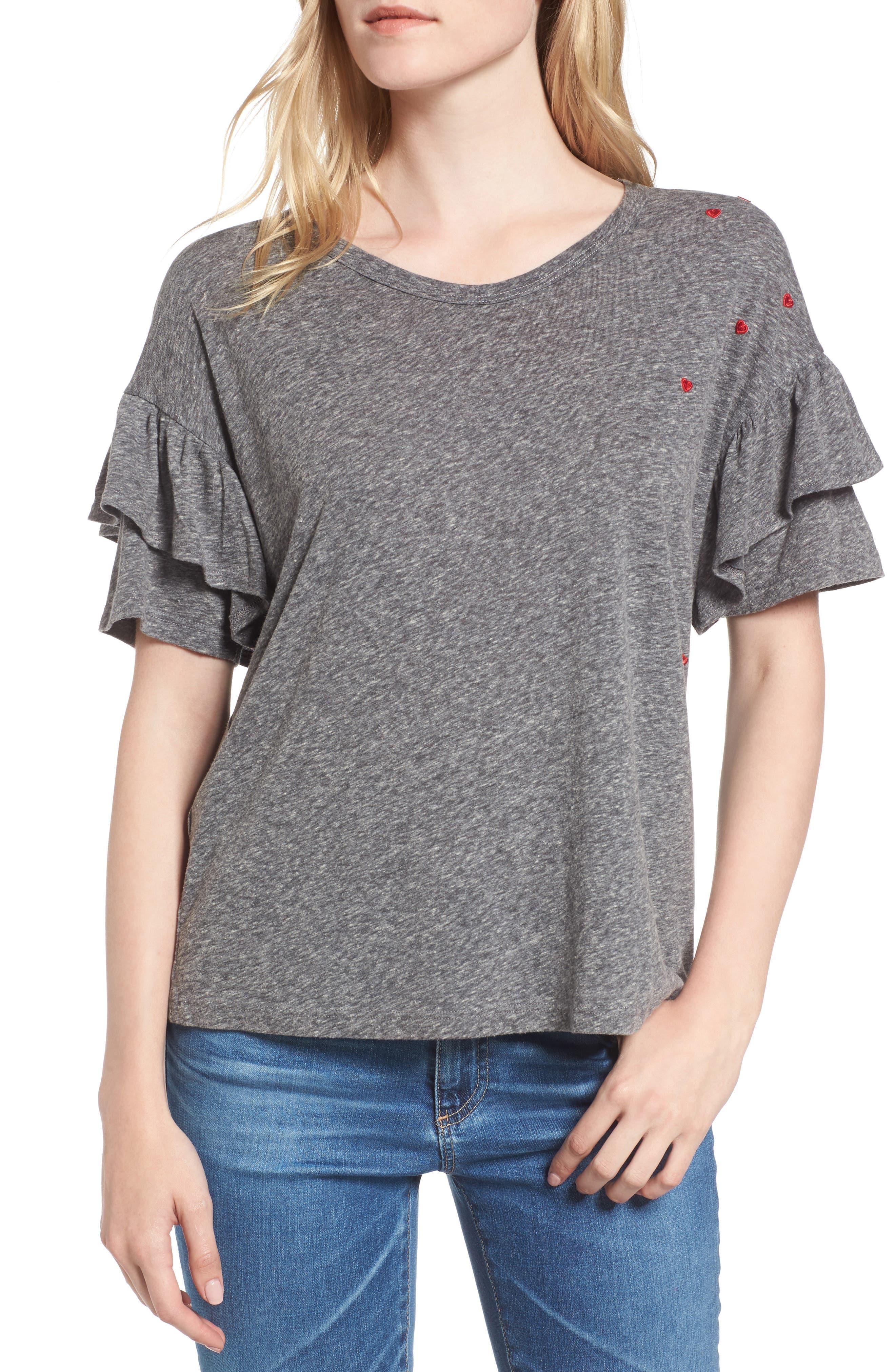 Sundry Ruffle Sleeve T-Shirt