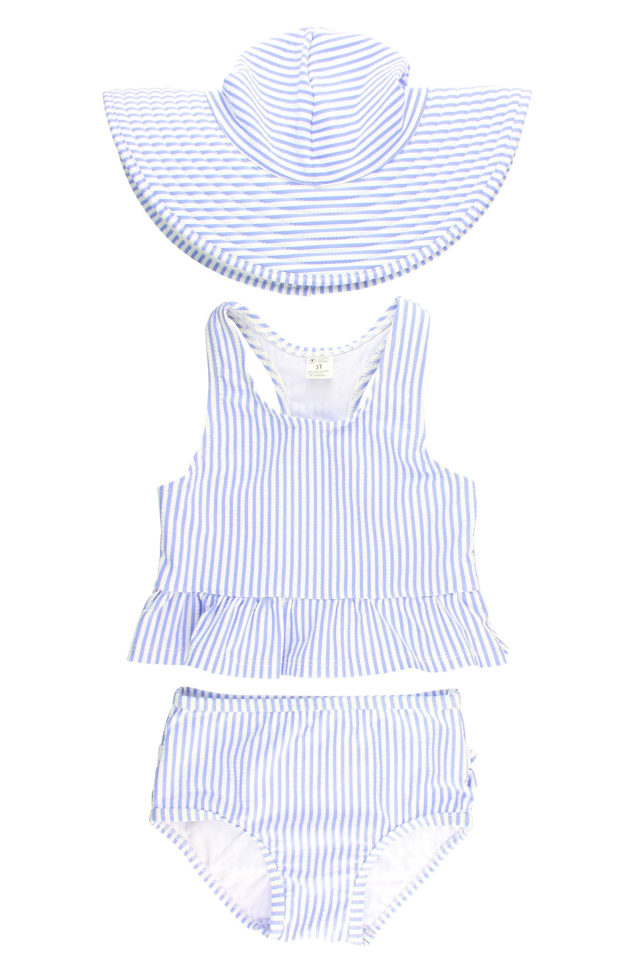 RuffleButts Two-Piece Swimsuit & Hat Set (Toddler Girls & Little Girls)