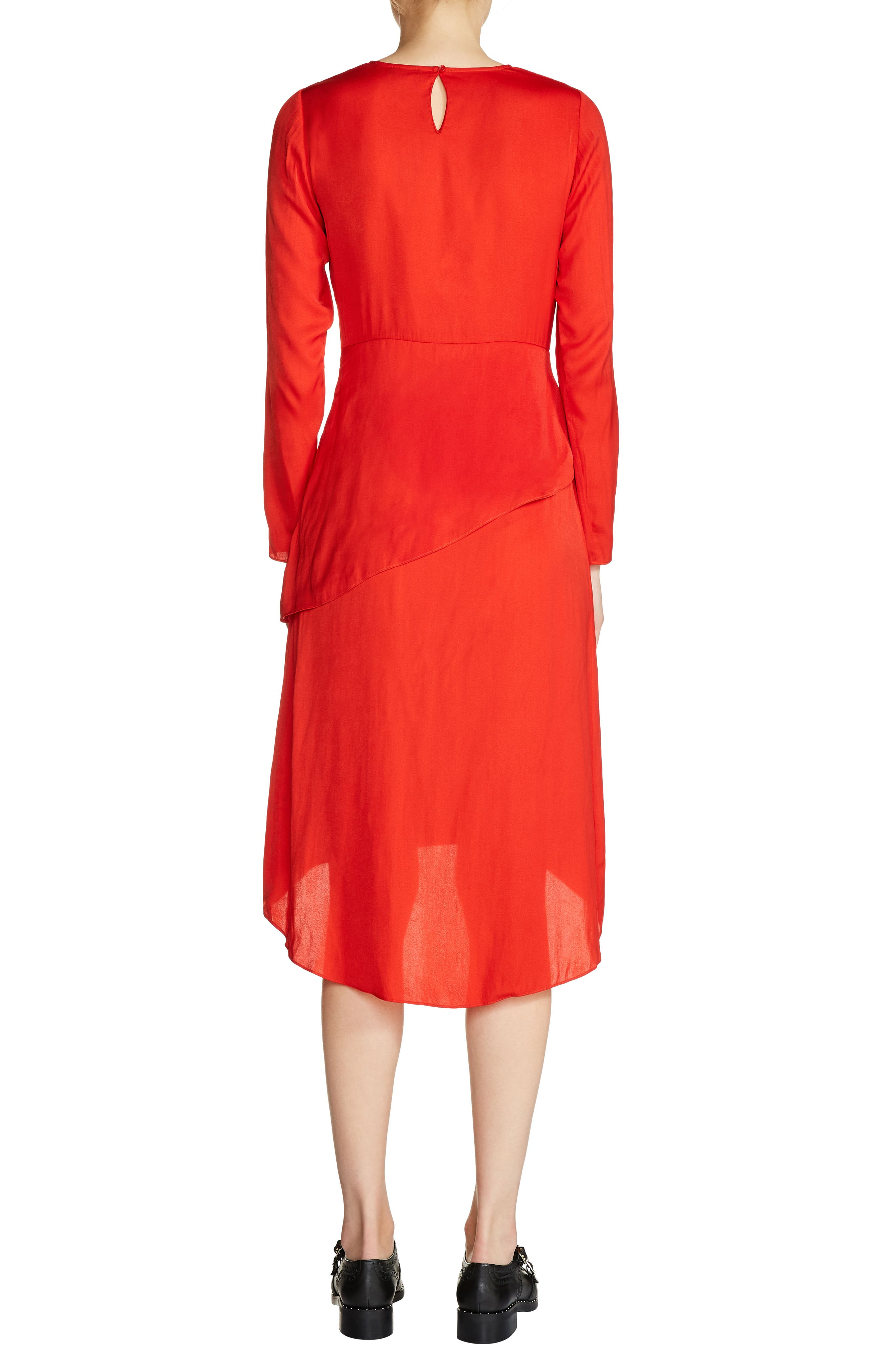 Tiered A-Line Dress,                             Alternate thumbnail 2, color,                             Red