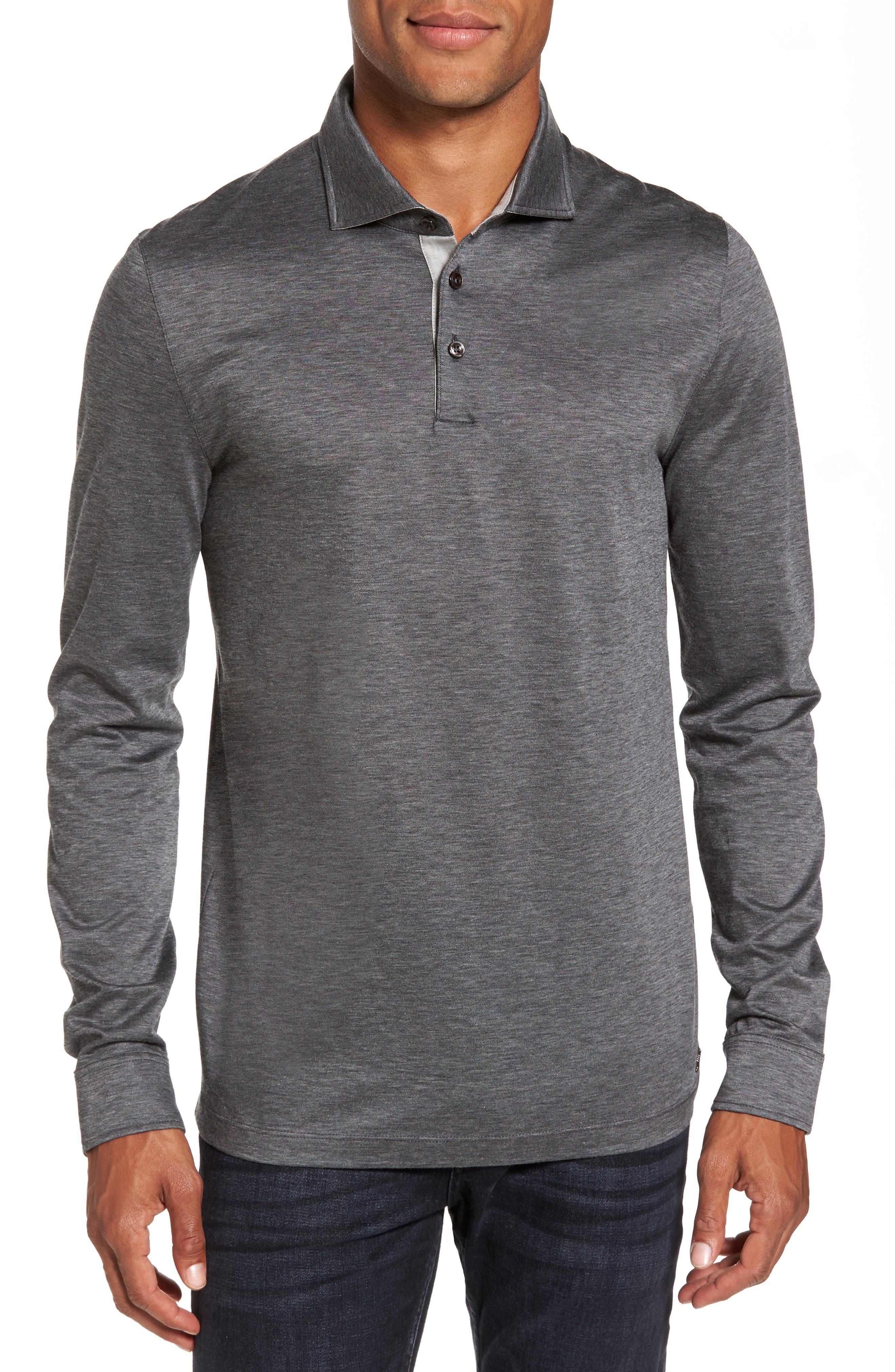 T-Morrison Slim Fit Long Sleeve Polo,                         Main,                         color, Black