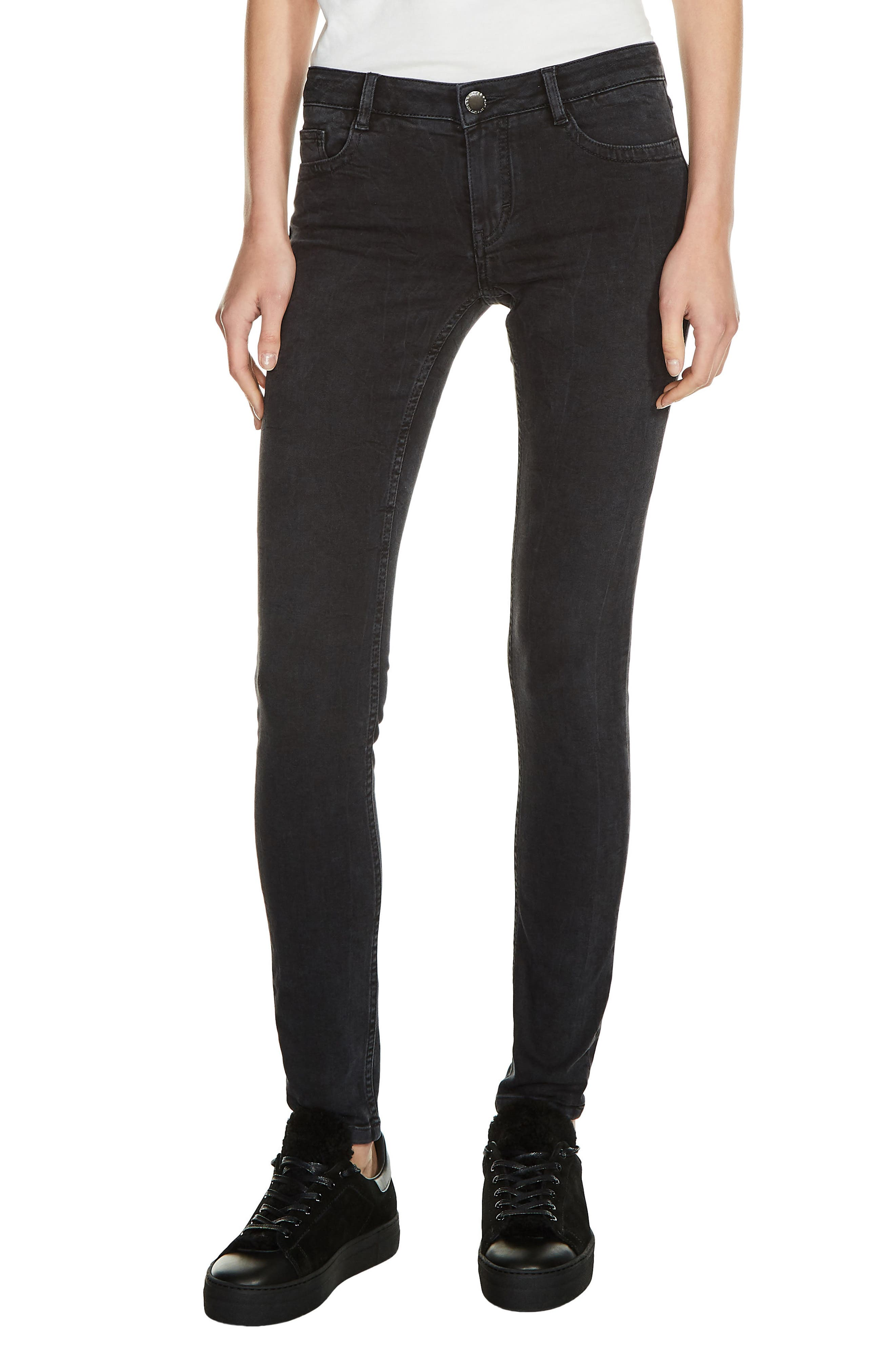 Main Image - maje Low Rise Skinny Jeans (Anthracite)