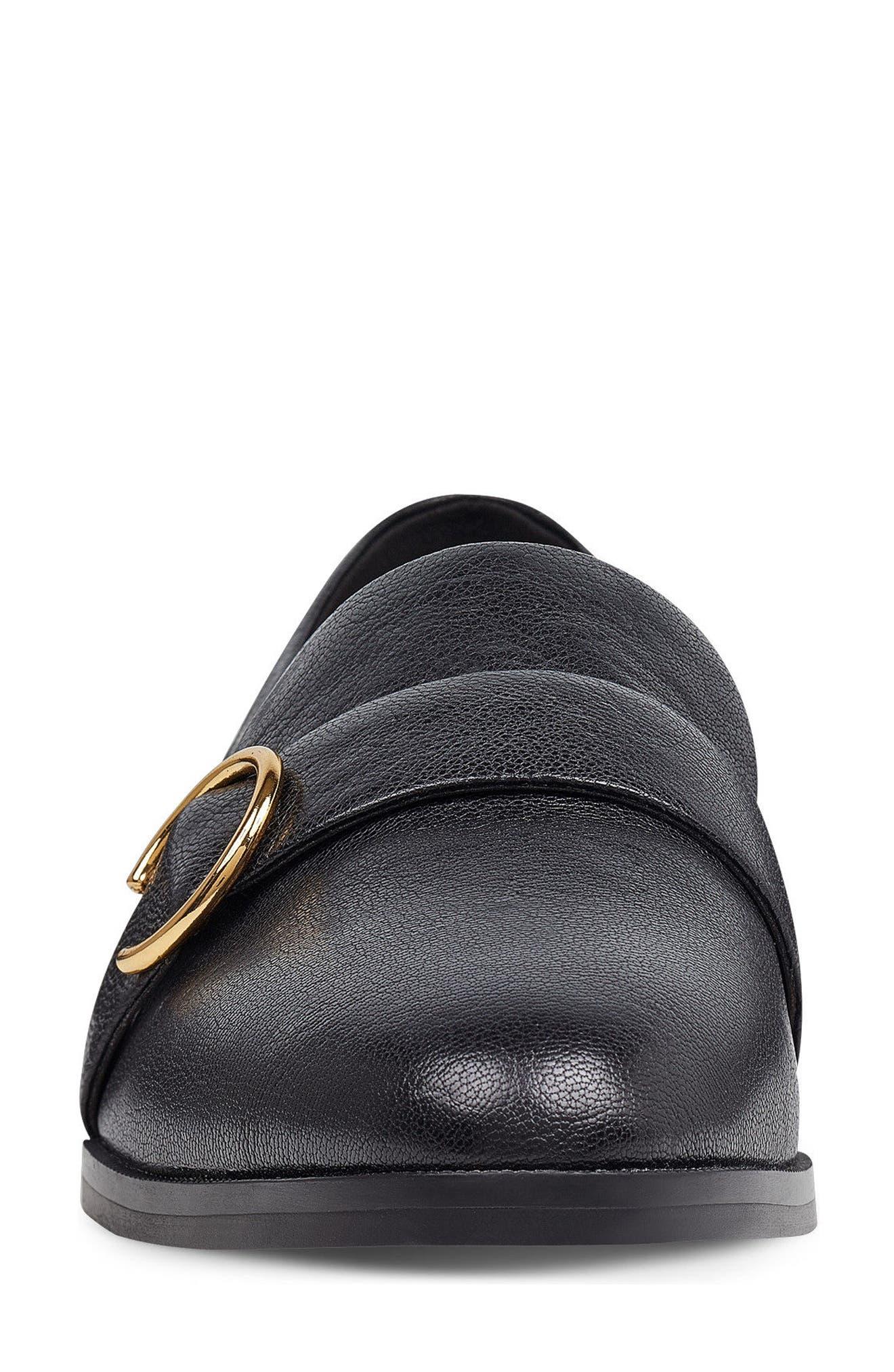 Huff Loafer Flat,                             Alternate thumbnail 4, color,                             Black Leather