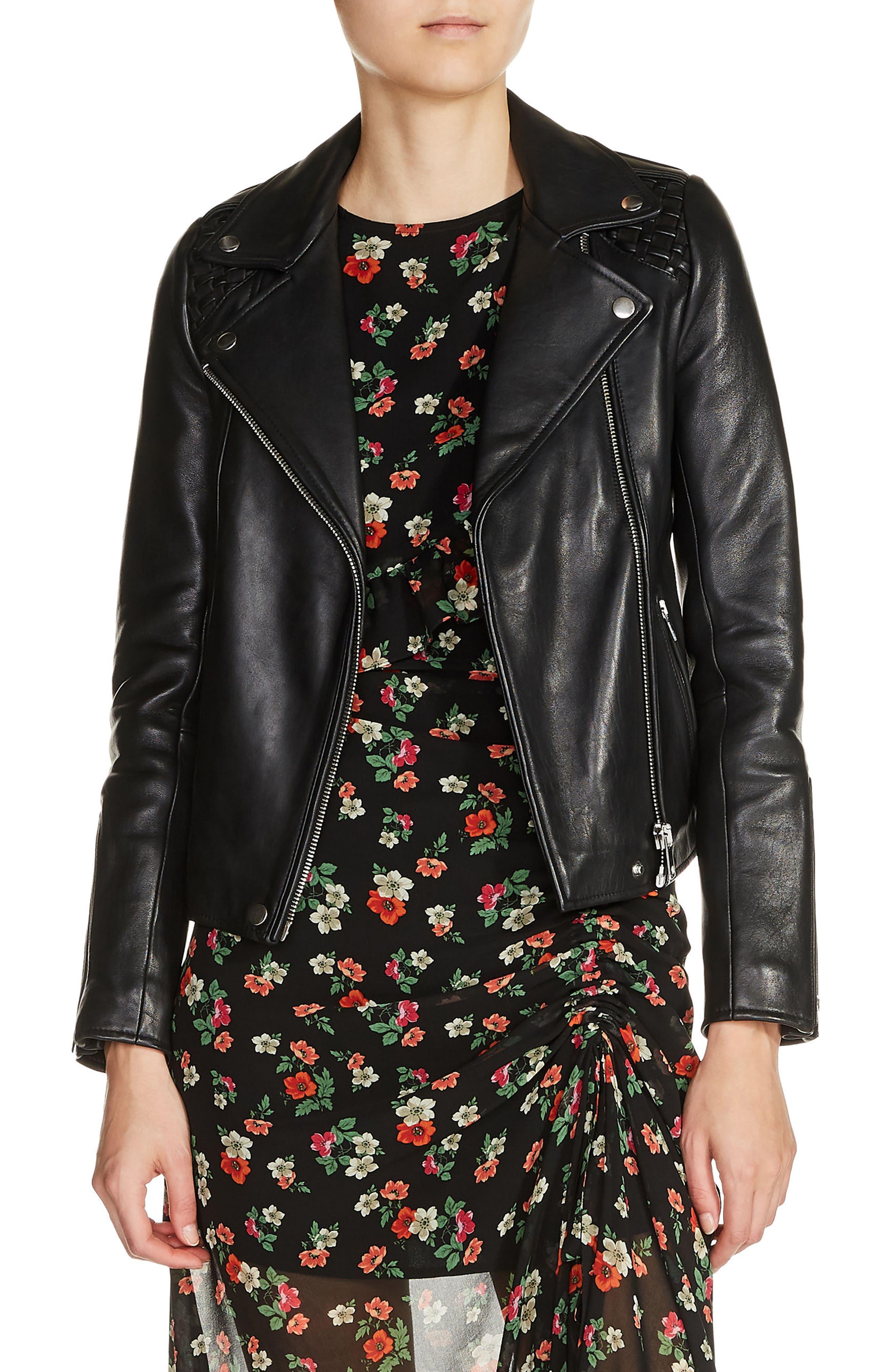 Braided Shoulder Leather Jacket,                         Main,                         color, Black
