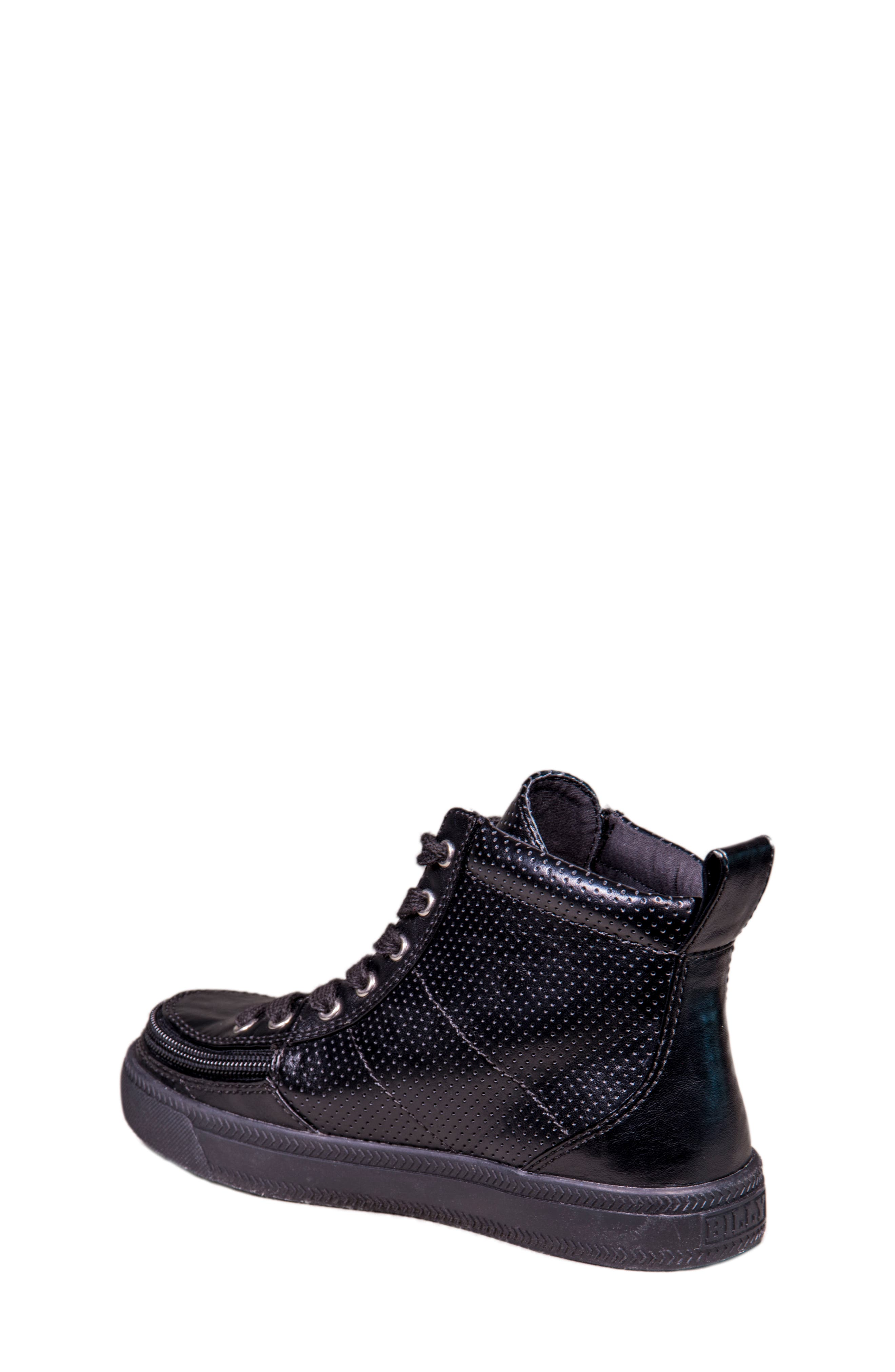 Zip Around Perforated High Top Sneaker,                             Alternate thumbnail 2, color,                             Black Perforated