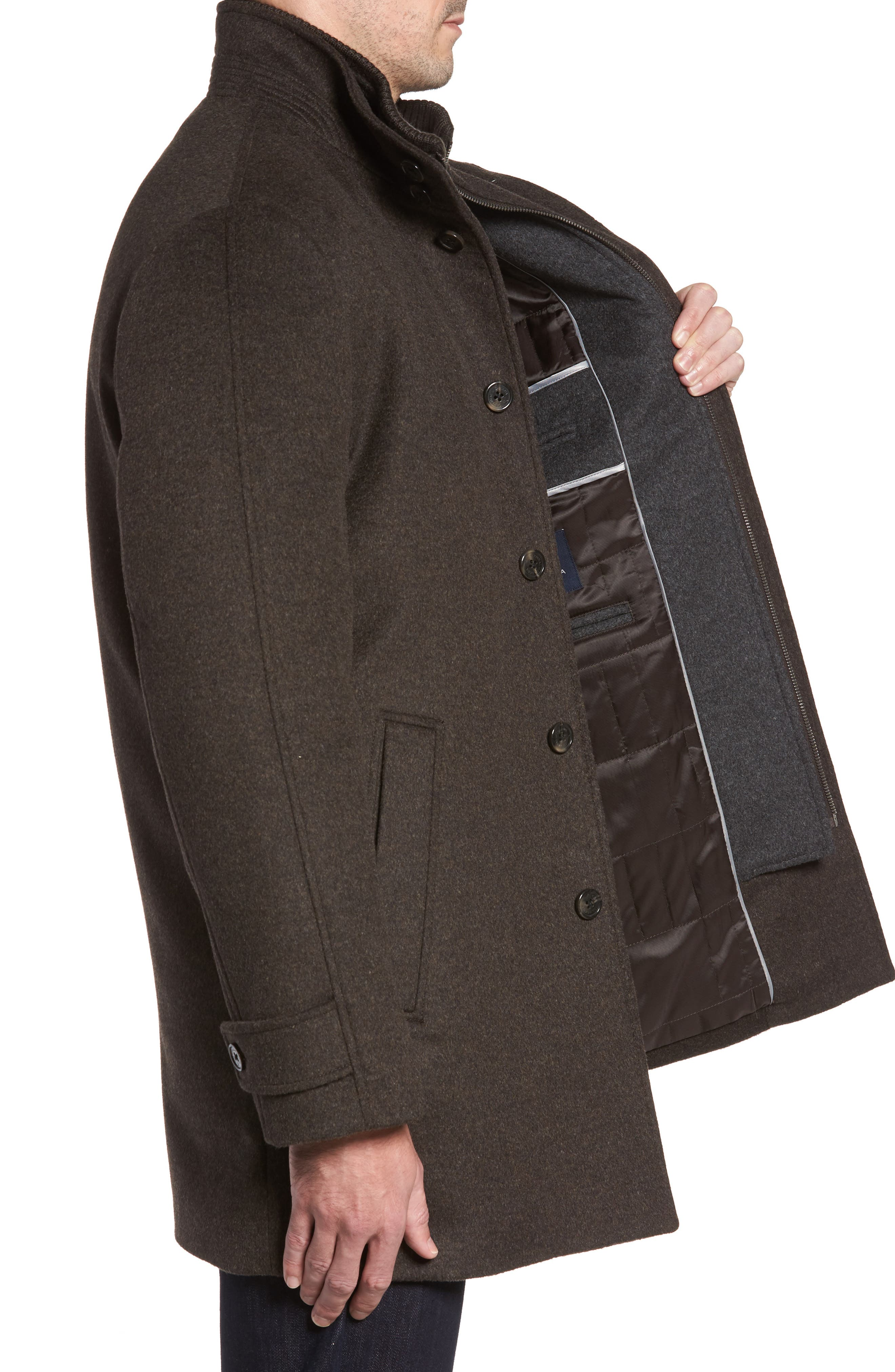 Wool Jacket,                             Alternate thumbnail 3, color,                             Brown Melange