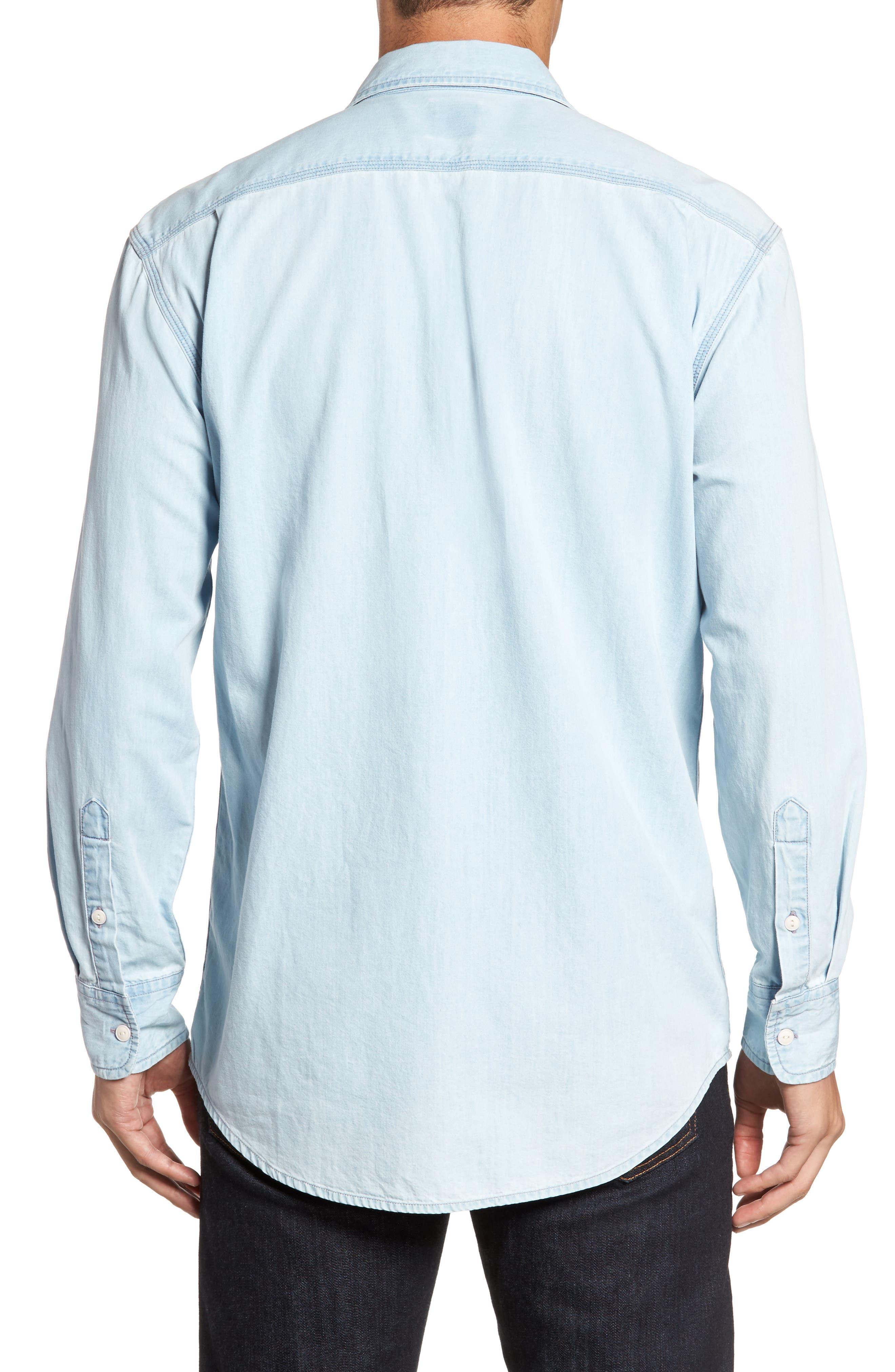 Regular Denim Sport Shirt,                             Alternate thumbnail 2, color,                             Light Blue