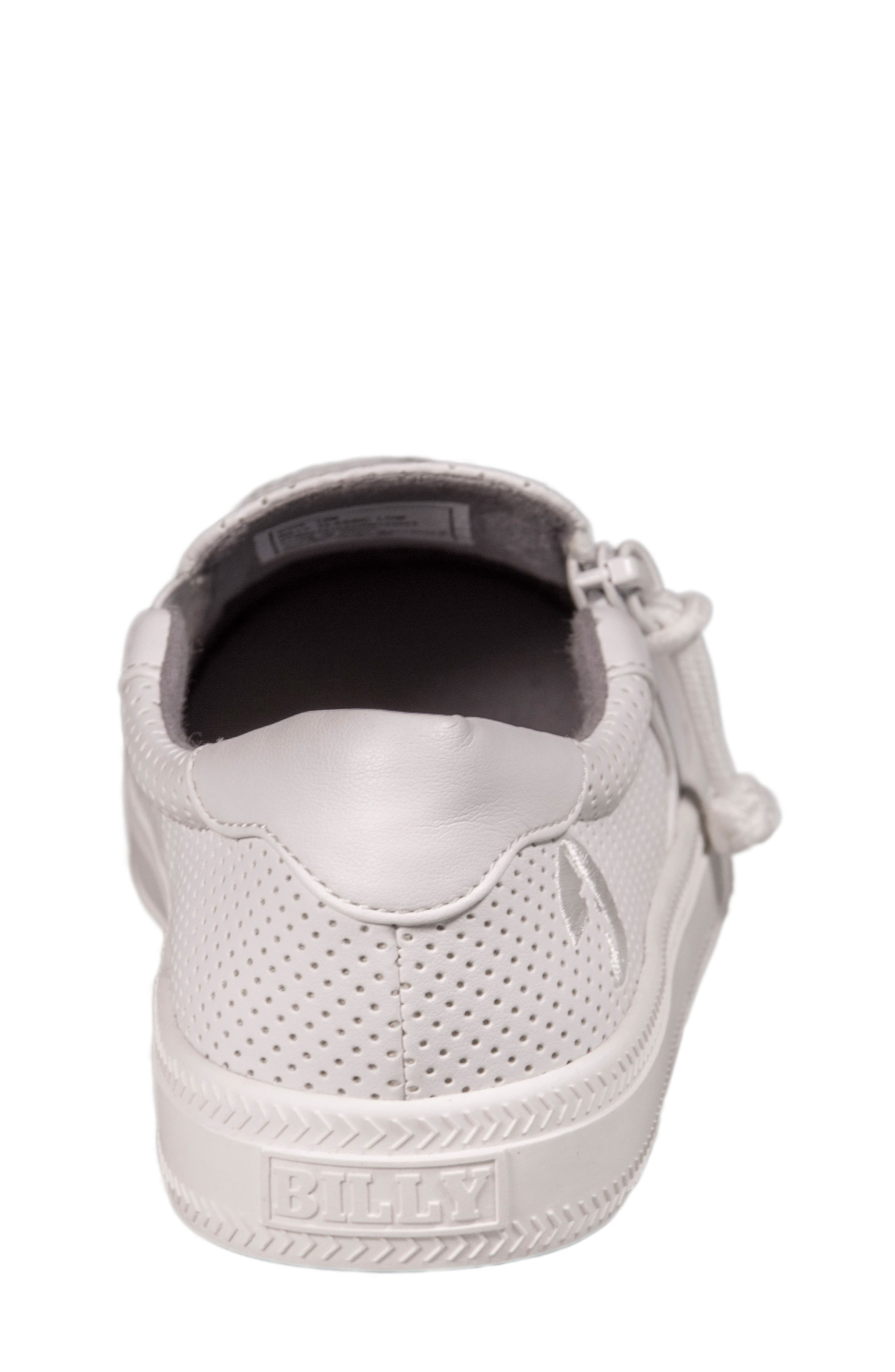 Zip Around Perforated Low Top Sneaker,                             Alternate thumbnail 7, color,                             White Perforated