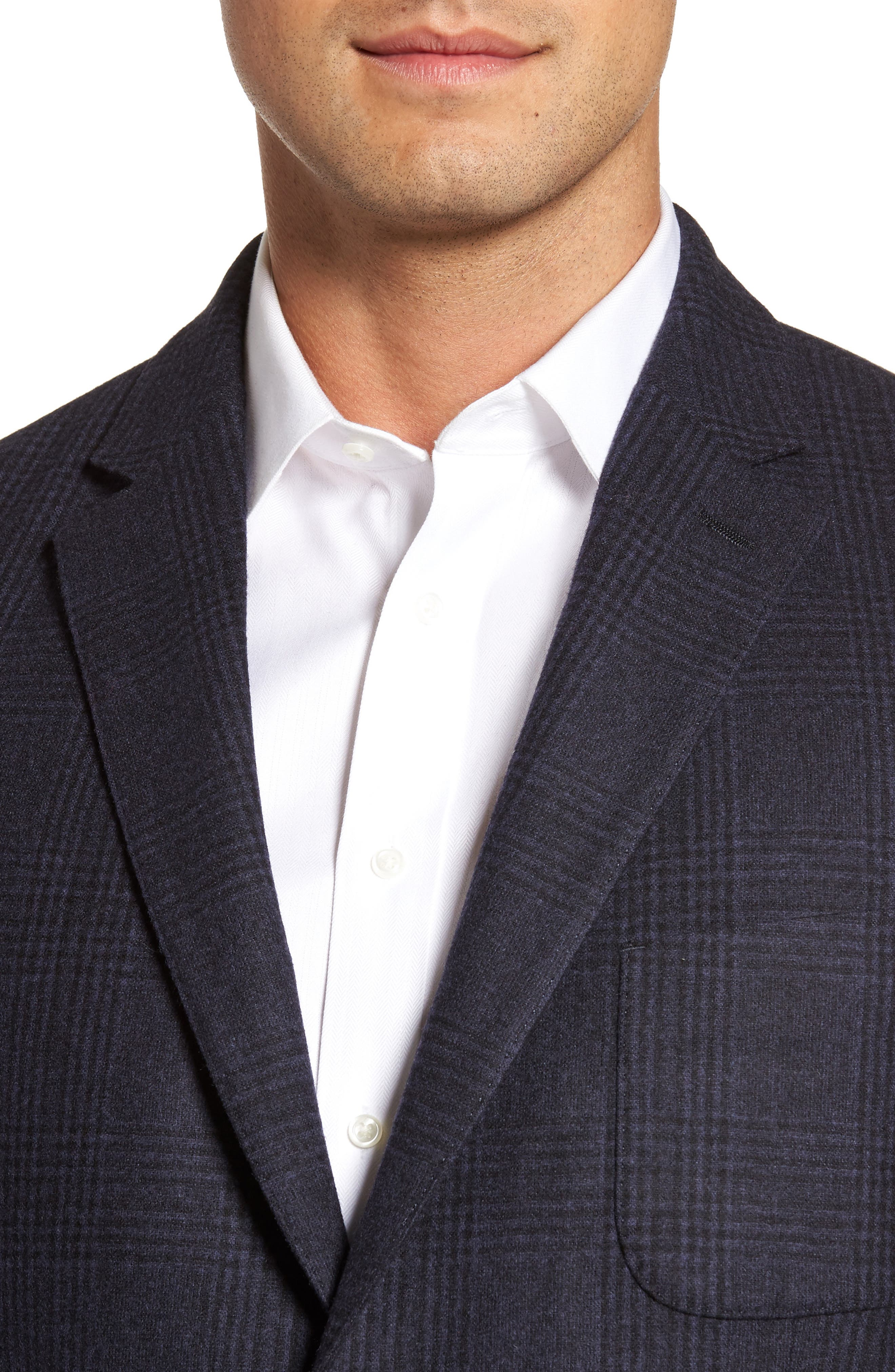 Classic Fit Plaid Merino Wool Jersey Sport Coat,                             Alternate thumbnail 4, color,                             Navy