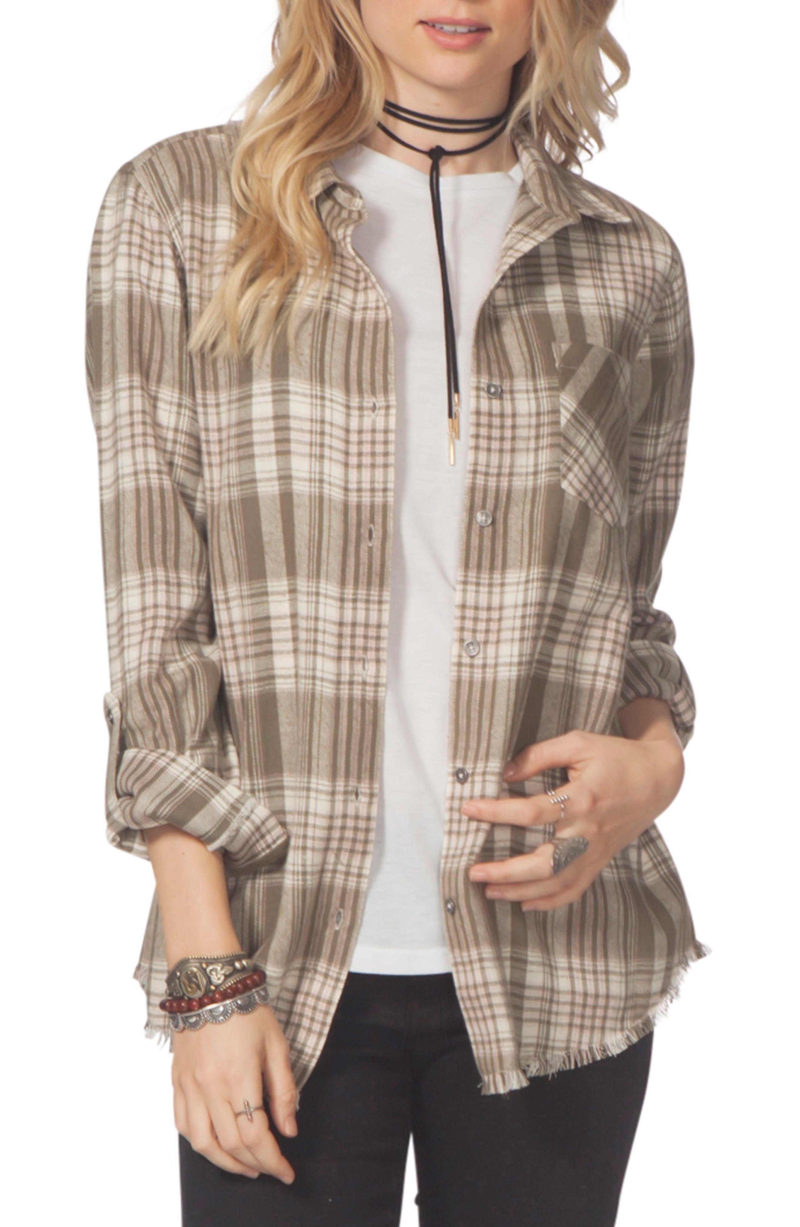 Open Skies Flannel Shirt,                         Main,                         color, Army