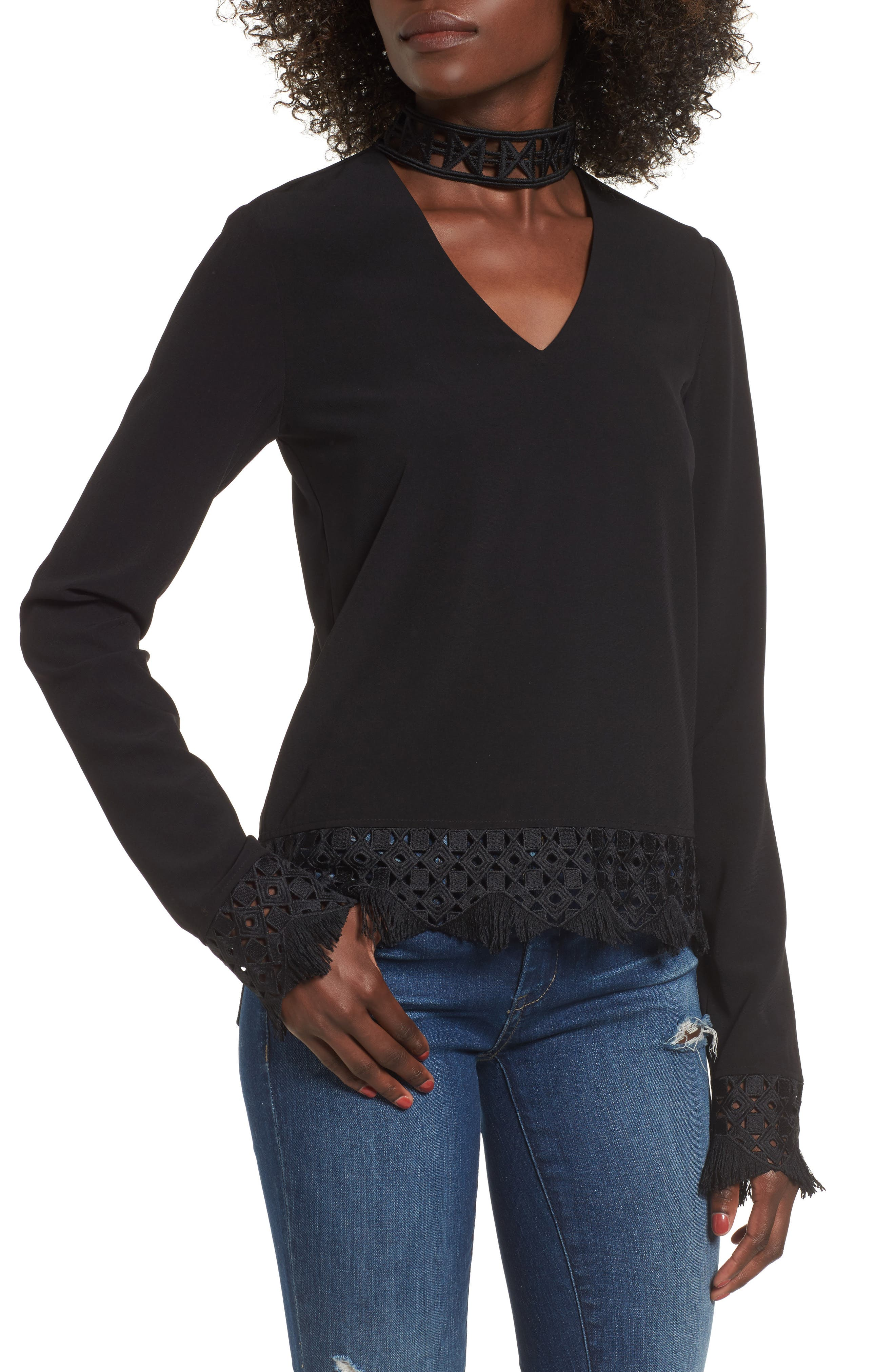 Choker Lace Top,                         Main,                         color, Black