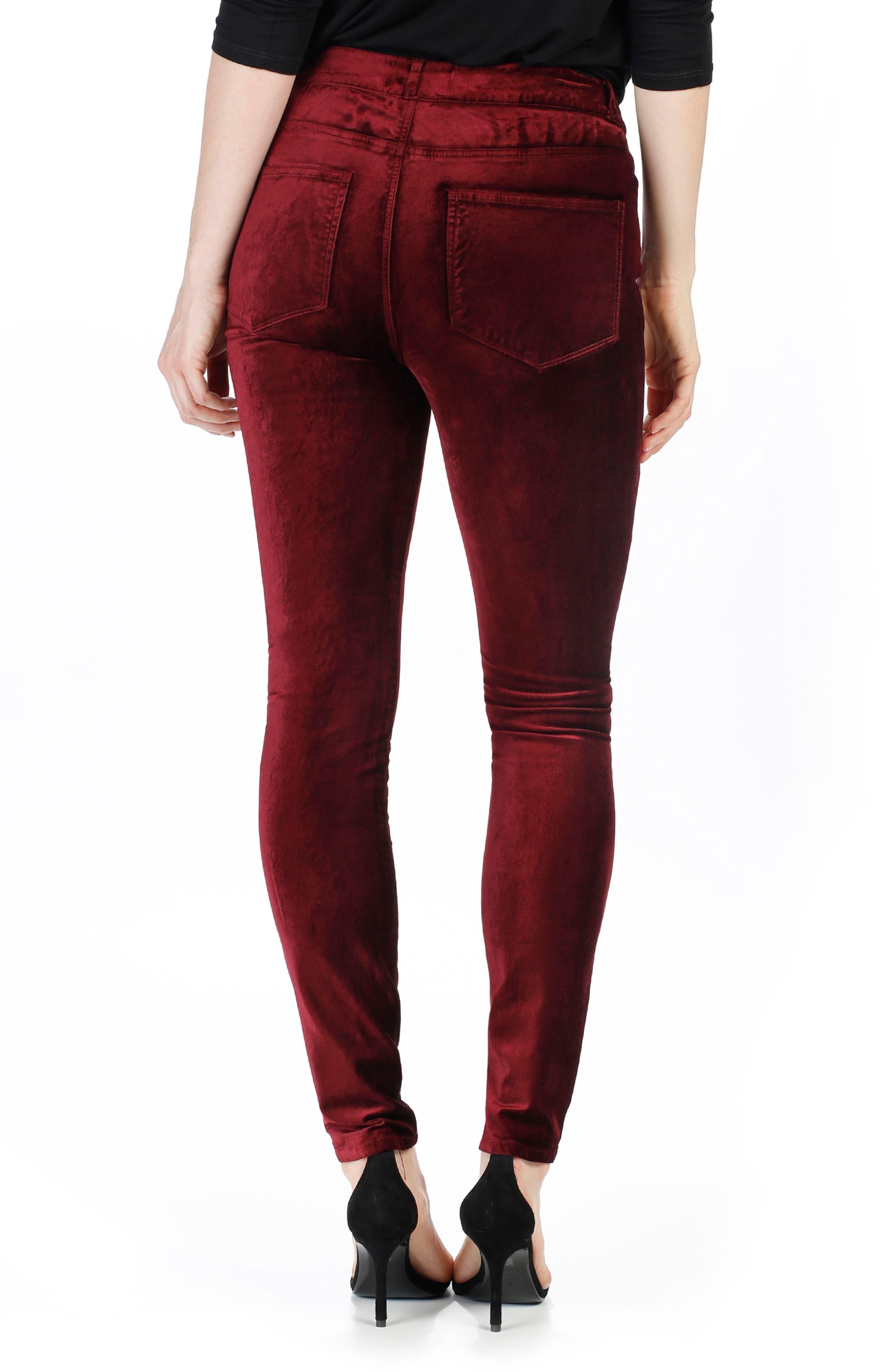 Alternate Image 2  - PAIGE Hoxton Velvet Skinny Jeans (Dark Magenta)