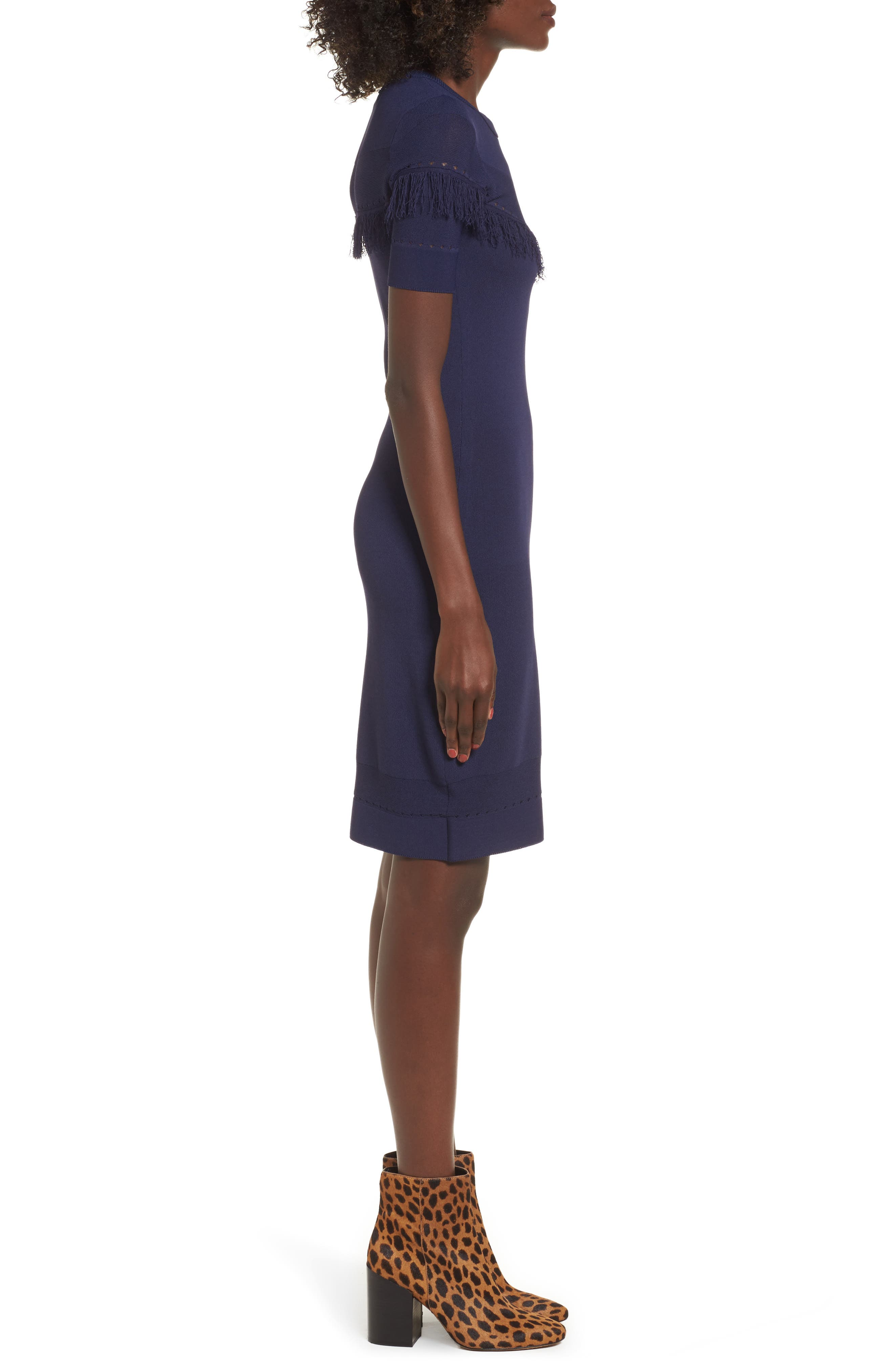 Dash Sheath Dress,                             Alternate thumbnail 3, color,                             Evening Blue