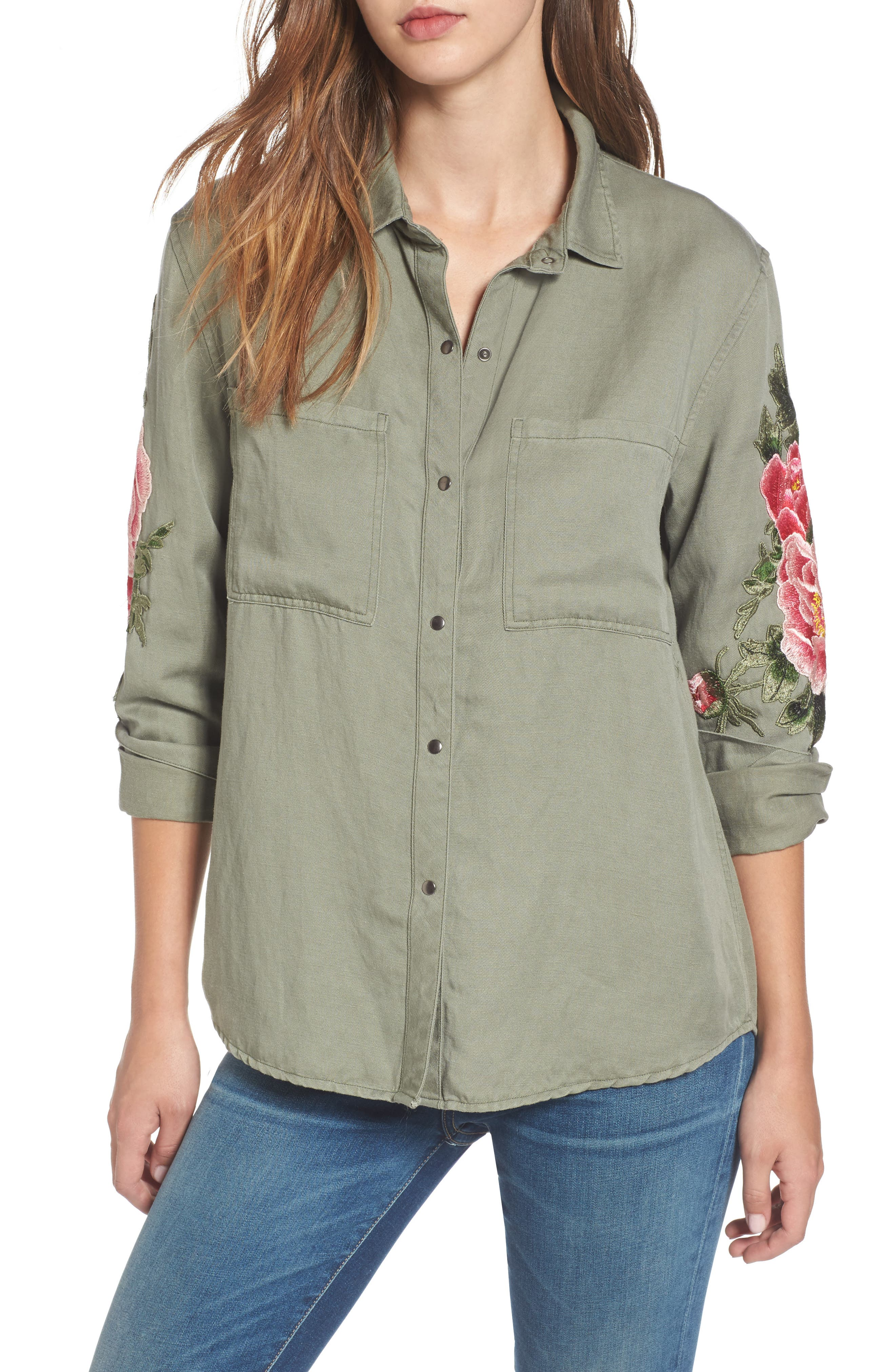 Marcel Embroidered Shirt,                         Main,                         color, Sage/ Pink Floral Patches