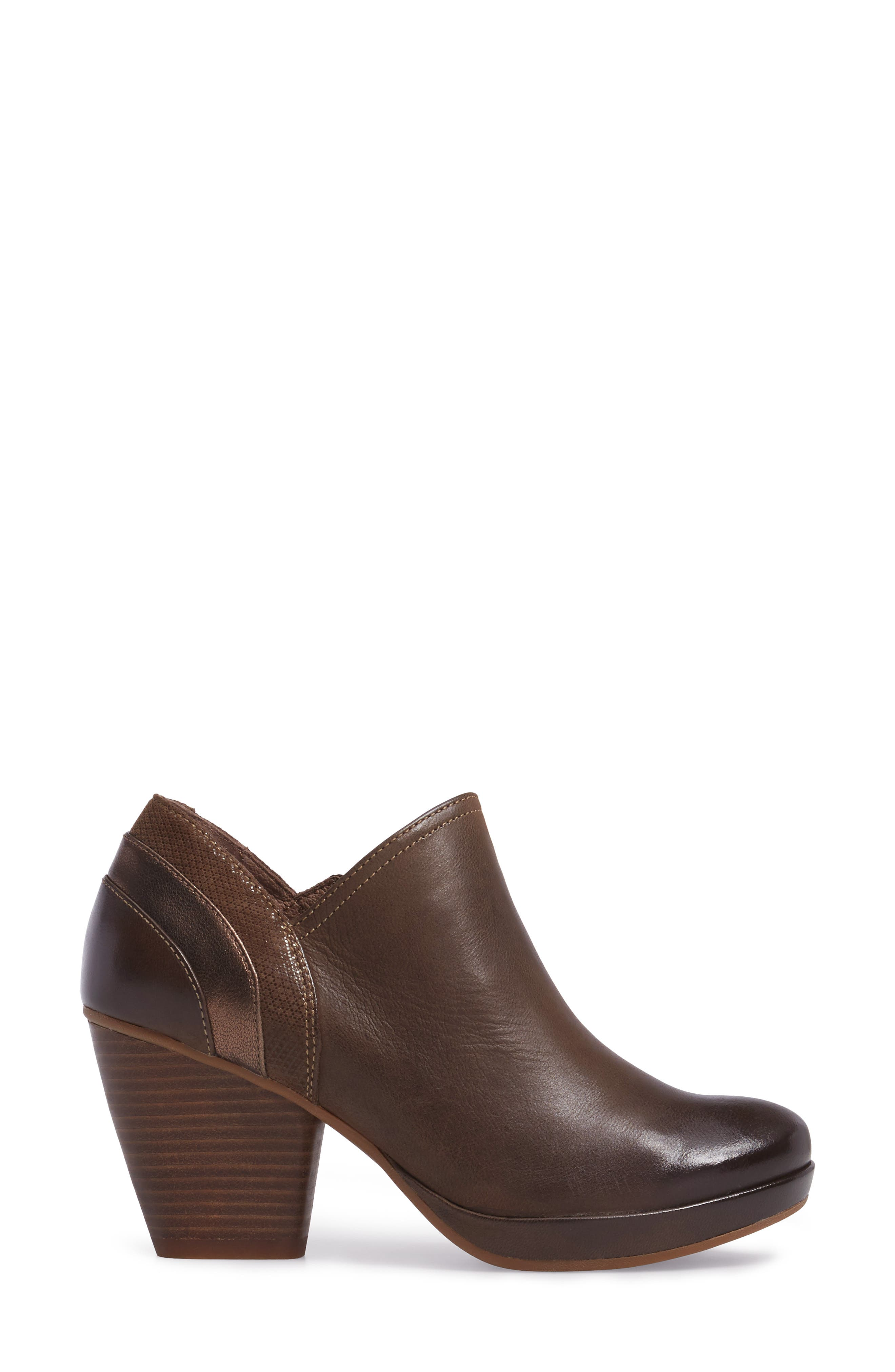 Marcia Bootie,                             Alternate thumbnail 3, color,                             Teak Burinished Leather