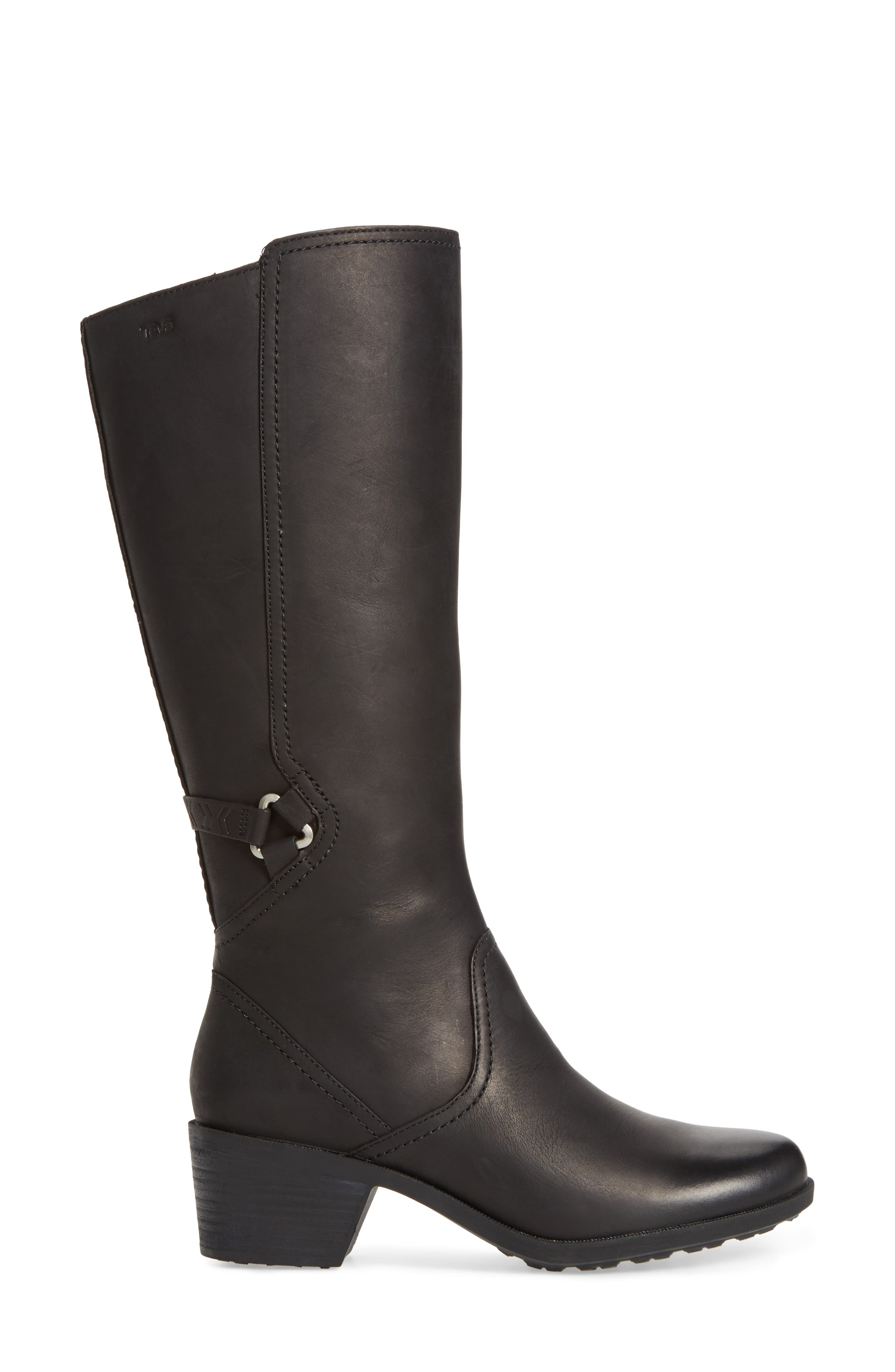 Foxy Waterproof Boot,                             Alternate thumbnail 3, color,                             Black Leather