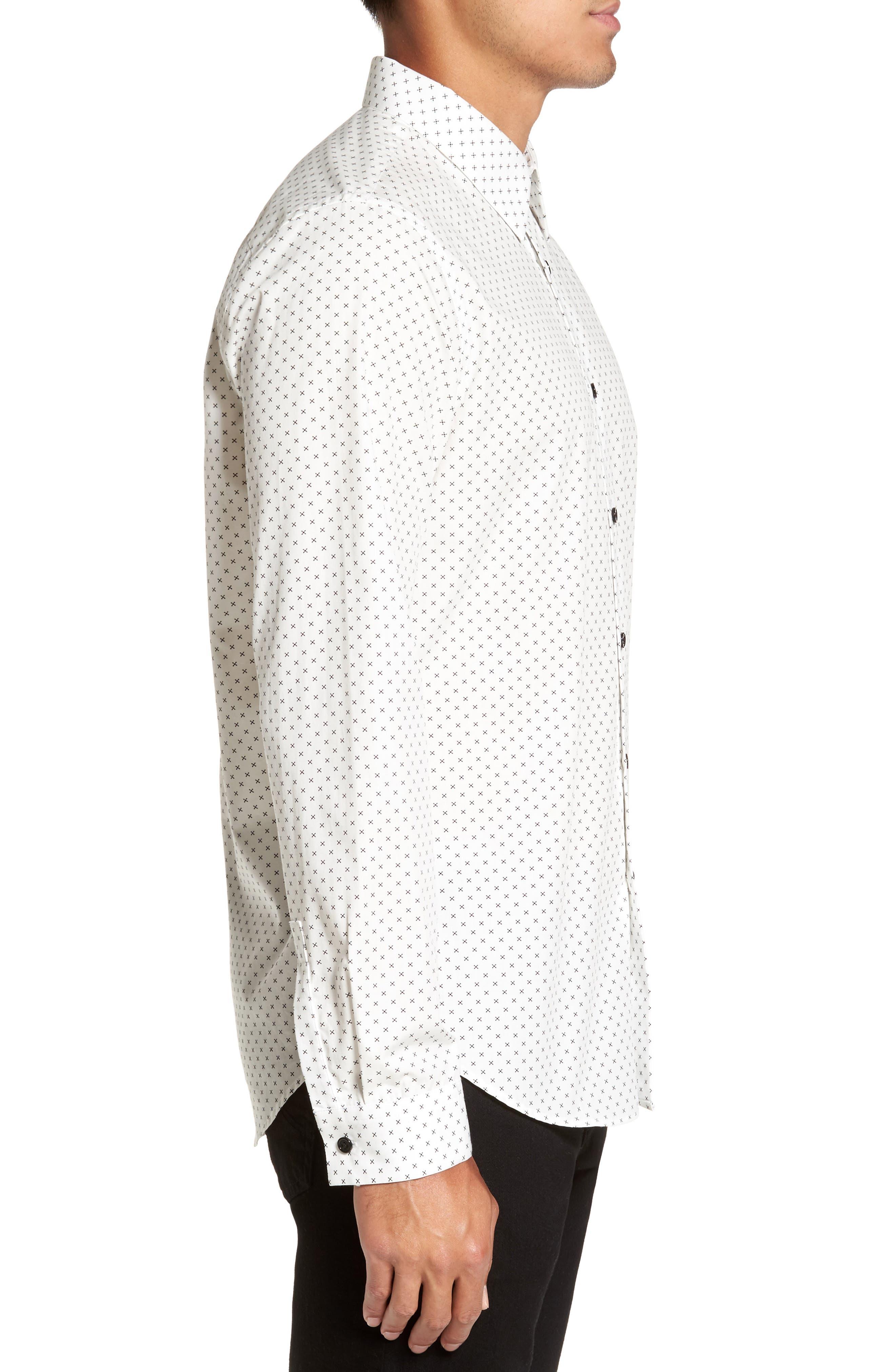 Stitch Print Sport Shirt,                             Alternate thumbnail 3, color,                             Ivory Multi