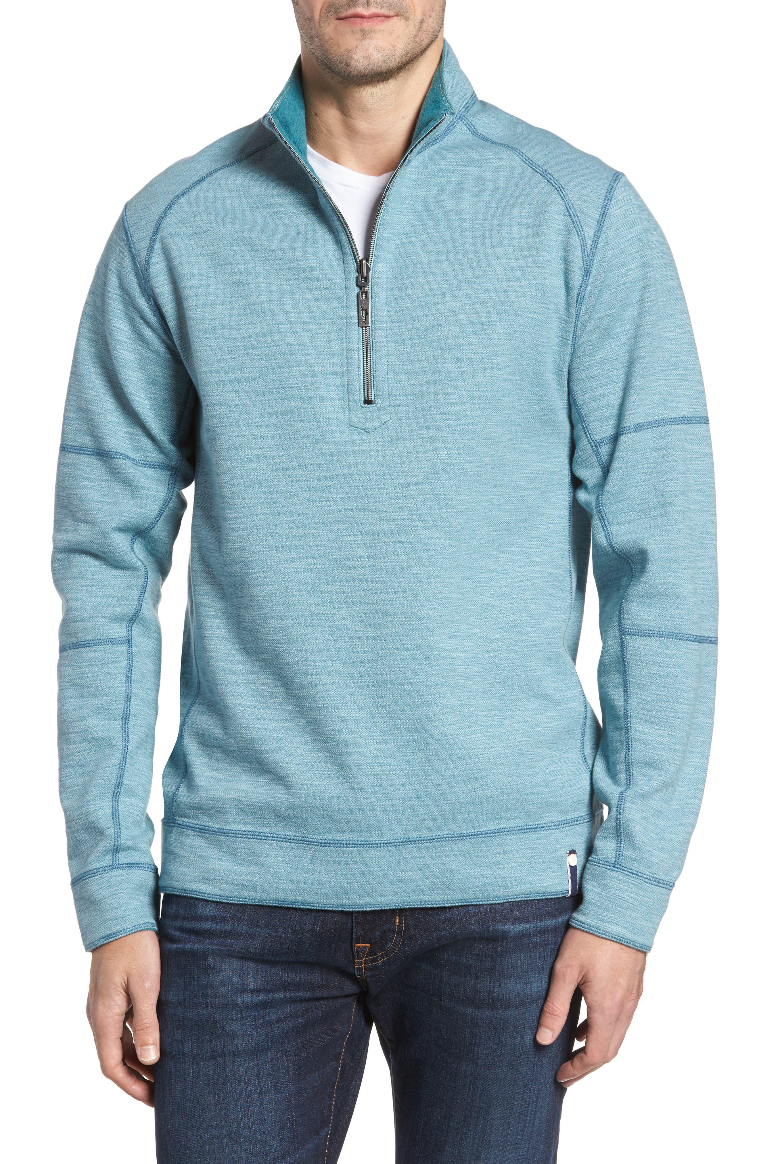 Main Image - Tommy Bahama Sandbar Slub Reversible Quarter Zip Pullover