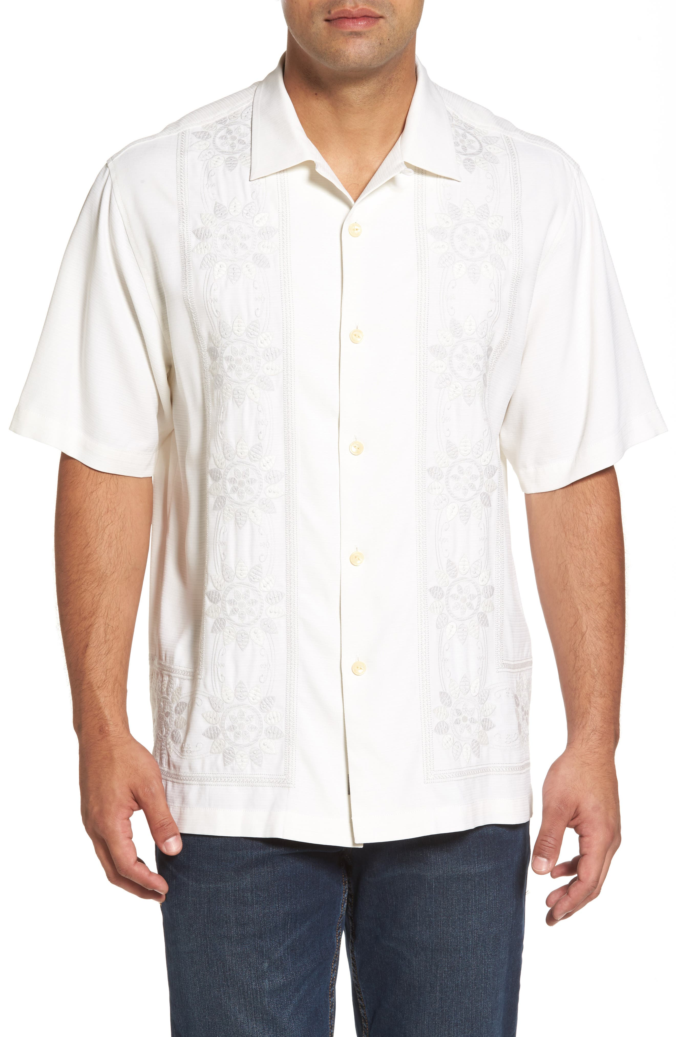 Tangier Tiles Embroidered Silk Woven Shirt,                         Main,                         color, Coconut Cream
