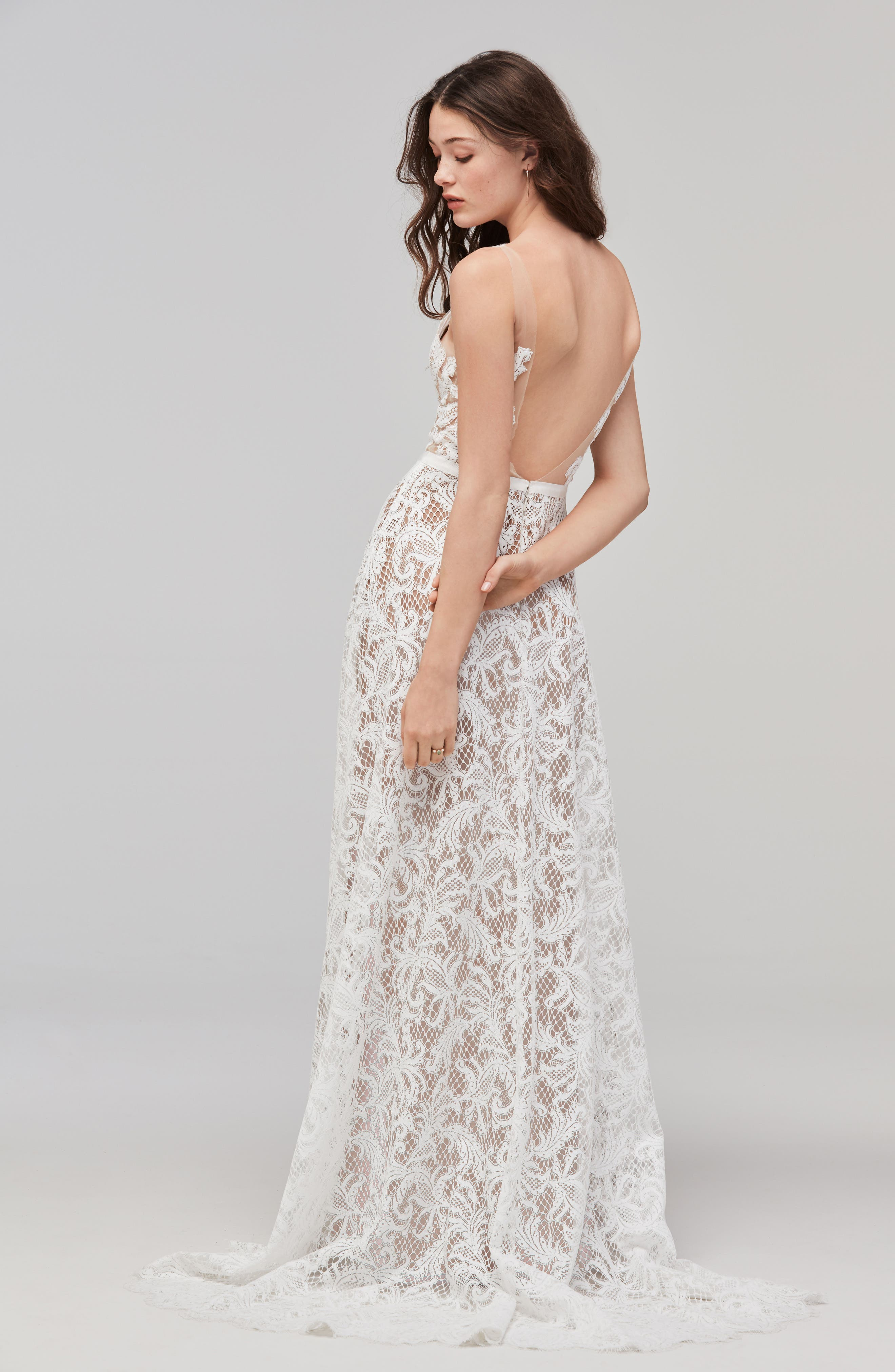 Alternate Image 2  - Willowby Asa Sleeveless Lace & Tulle A-Line Gown