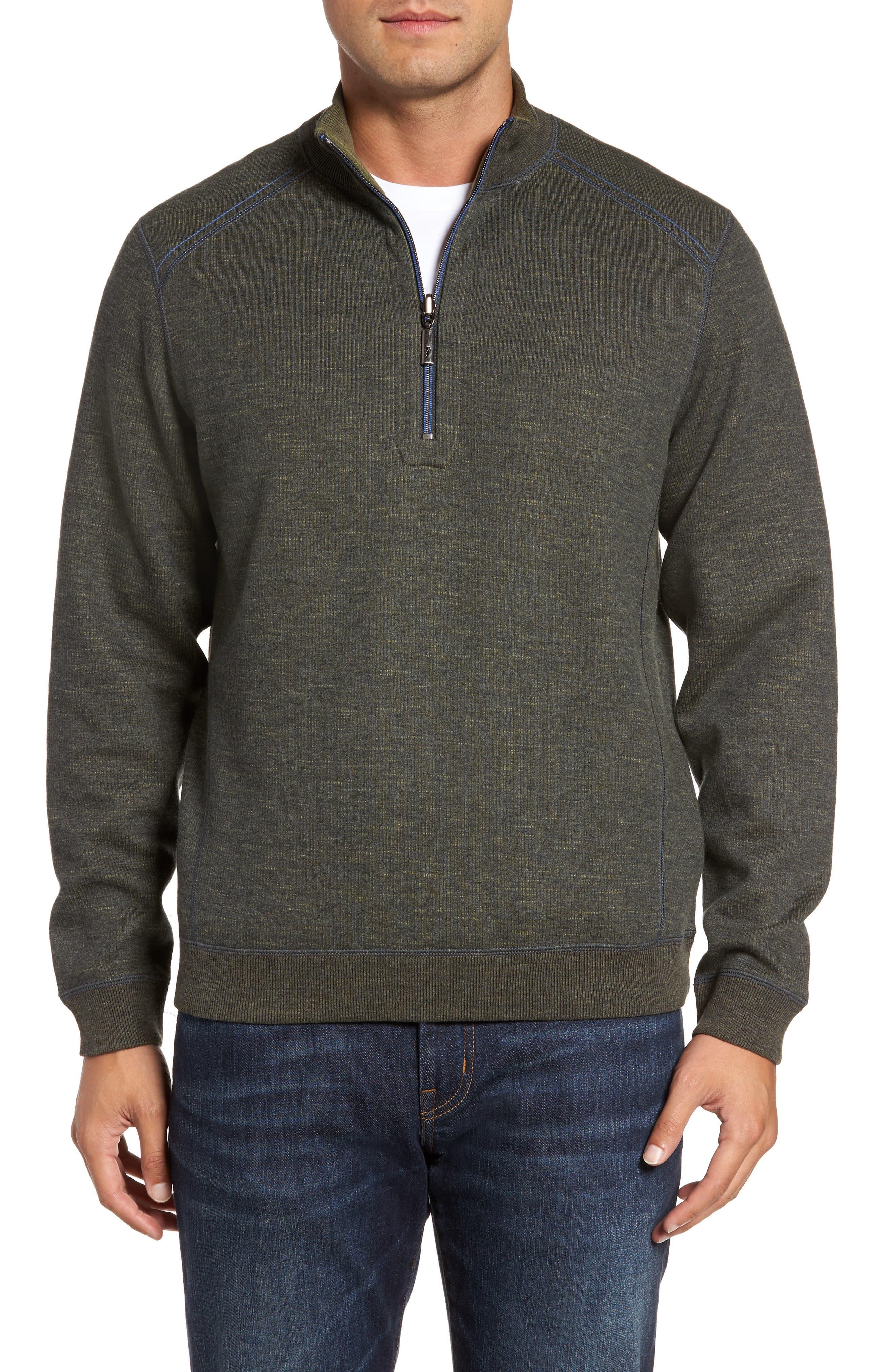 Flipsider Reversible Quarter-Zip Pullover,                             Main thumbnail 1, color,                             Steel Wool Heather
