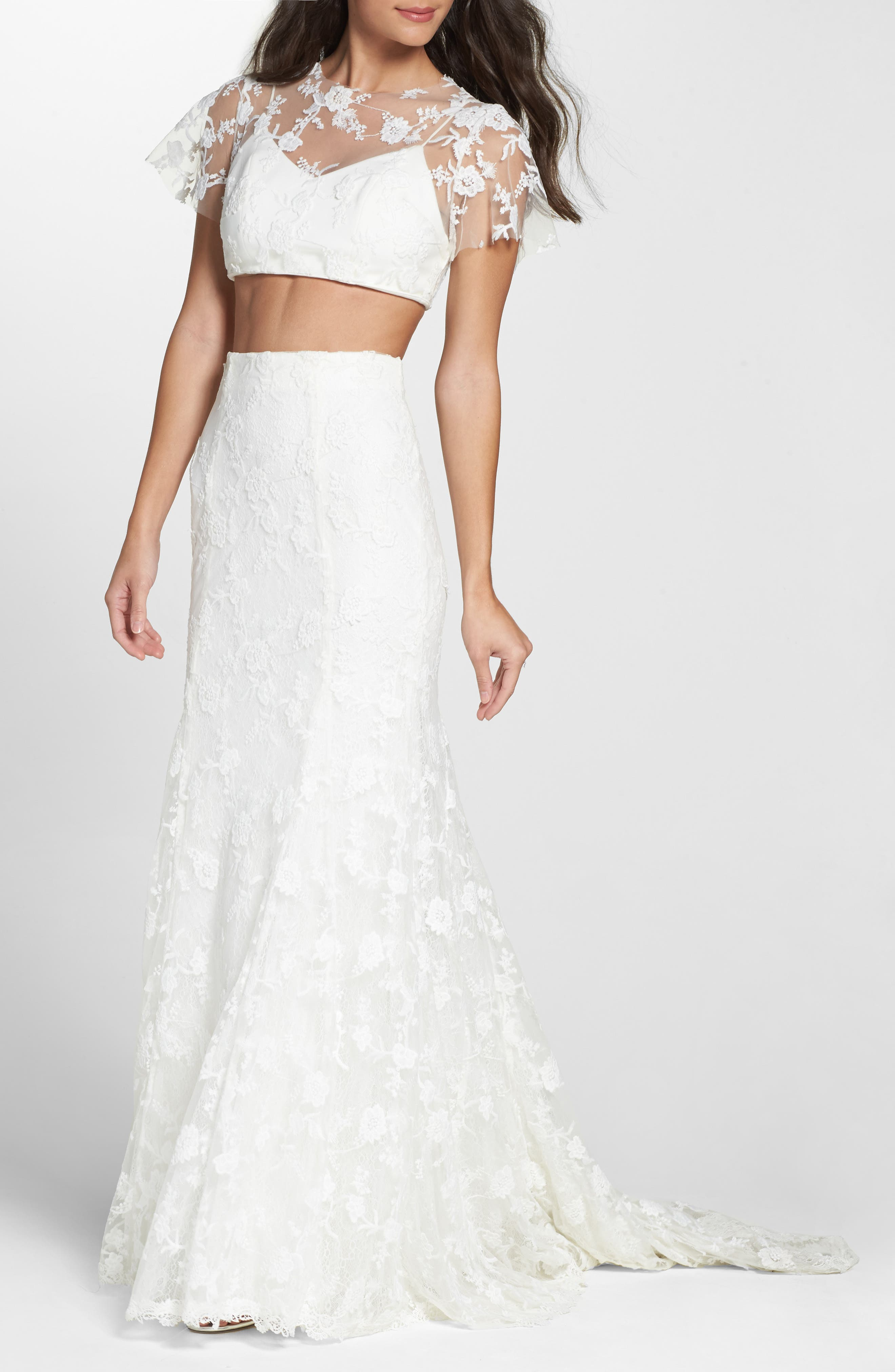 Maddie Lace Two-Piece Mermaid Gown,                         Main,                         color, Seasalt